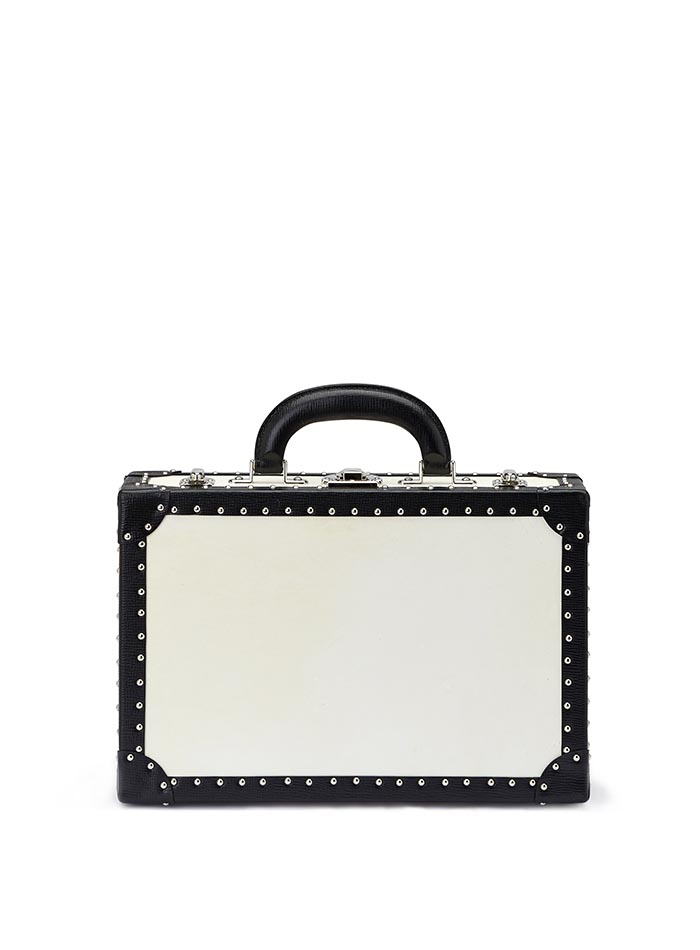 The parchment and black alligator with studs Jewellery Attache by Bertoni 1949