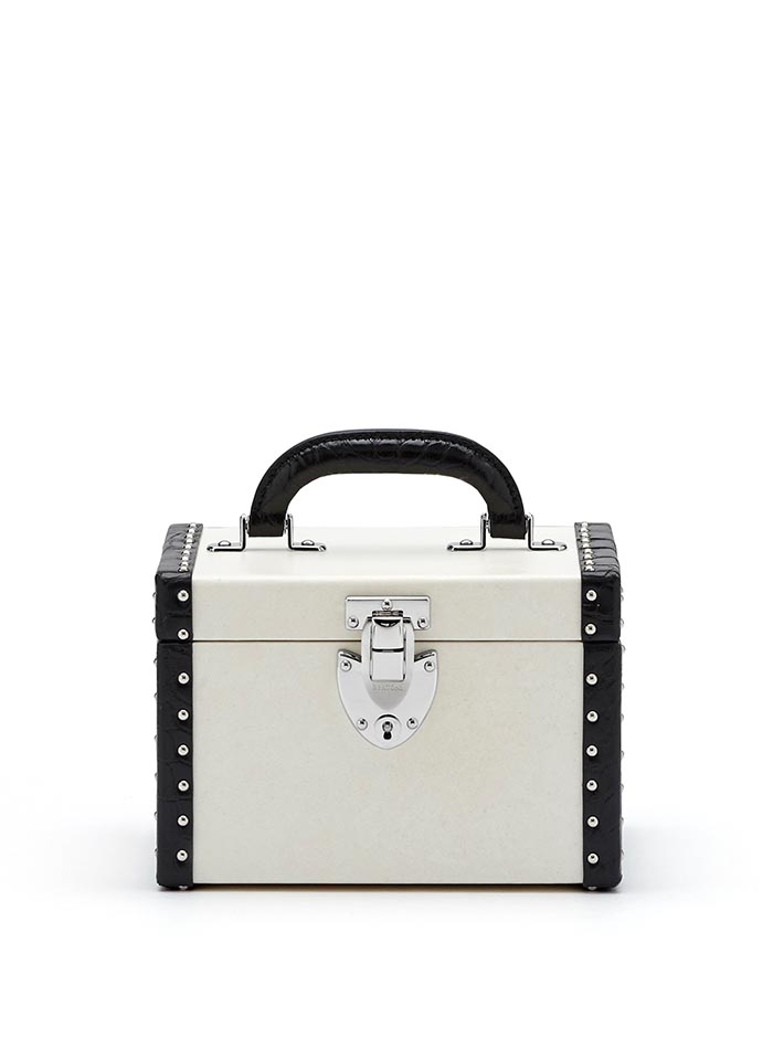 The parchment and black alligator with studs Mini Beautycase by Bertoni 1949