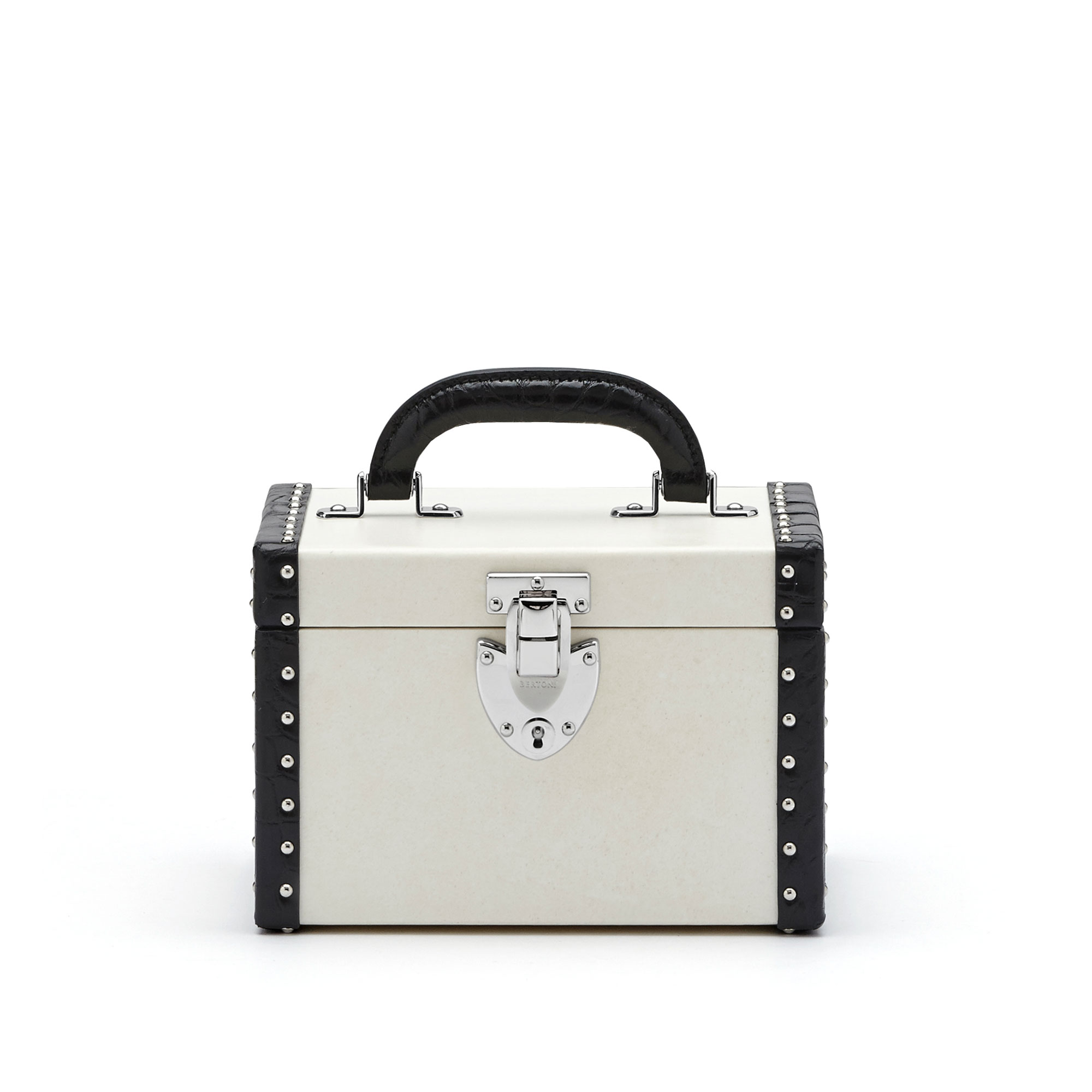 The parchment and black alligator with studs Mini Beautycase by Bertoni 1949 01
