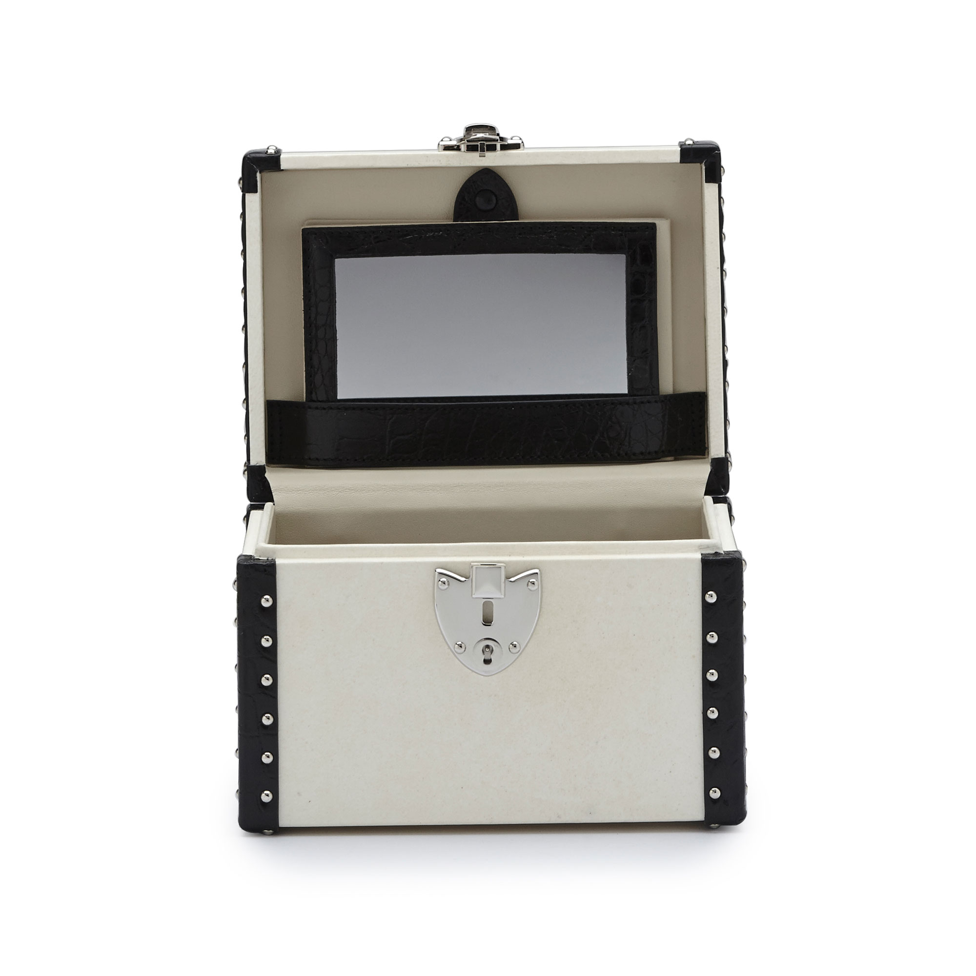 The parchment and black alligator with studs Mini Beautycase by Bertoni 1949 02