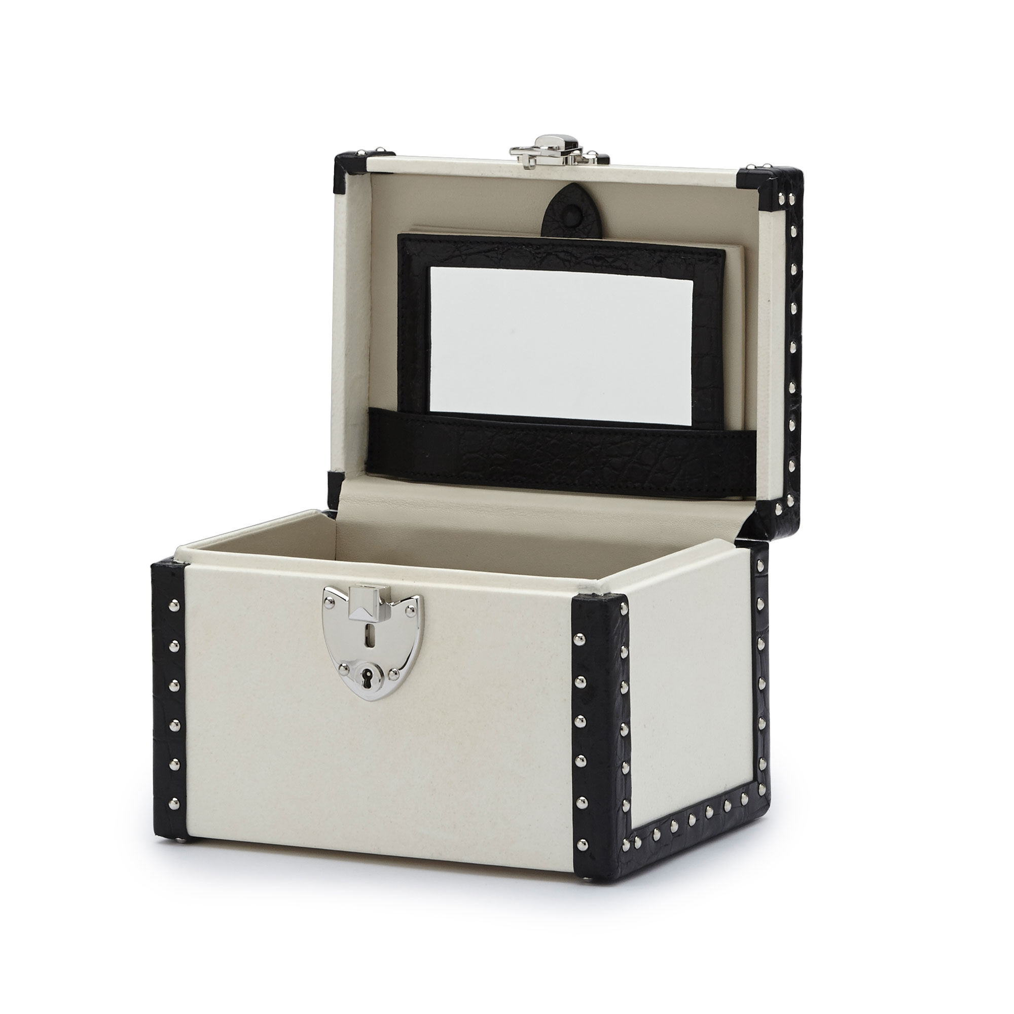 The parchment and black alligator with studs Mini Beautycase by Bertoni 1949 03