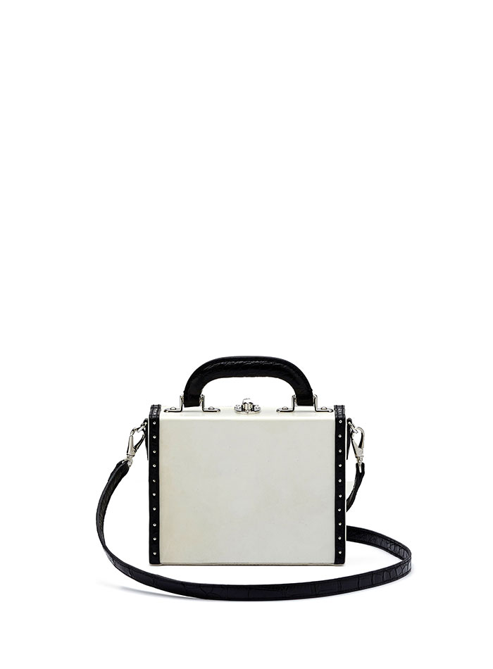 The parchment and black alligator with studs Mini Squared Bertoncina bag by Bertoni 1949