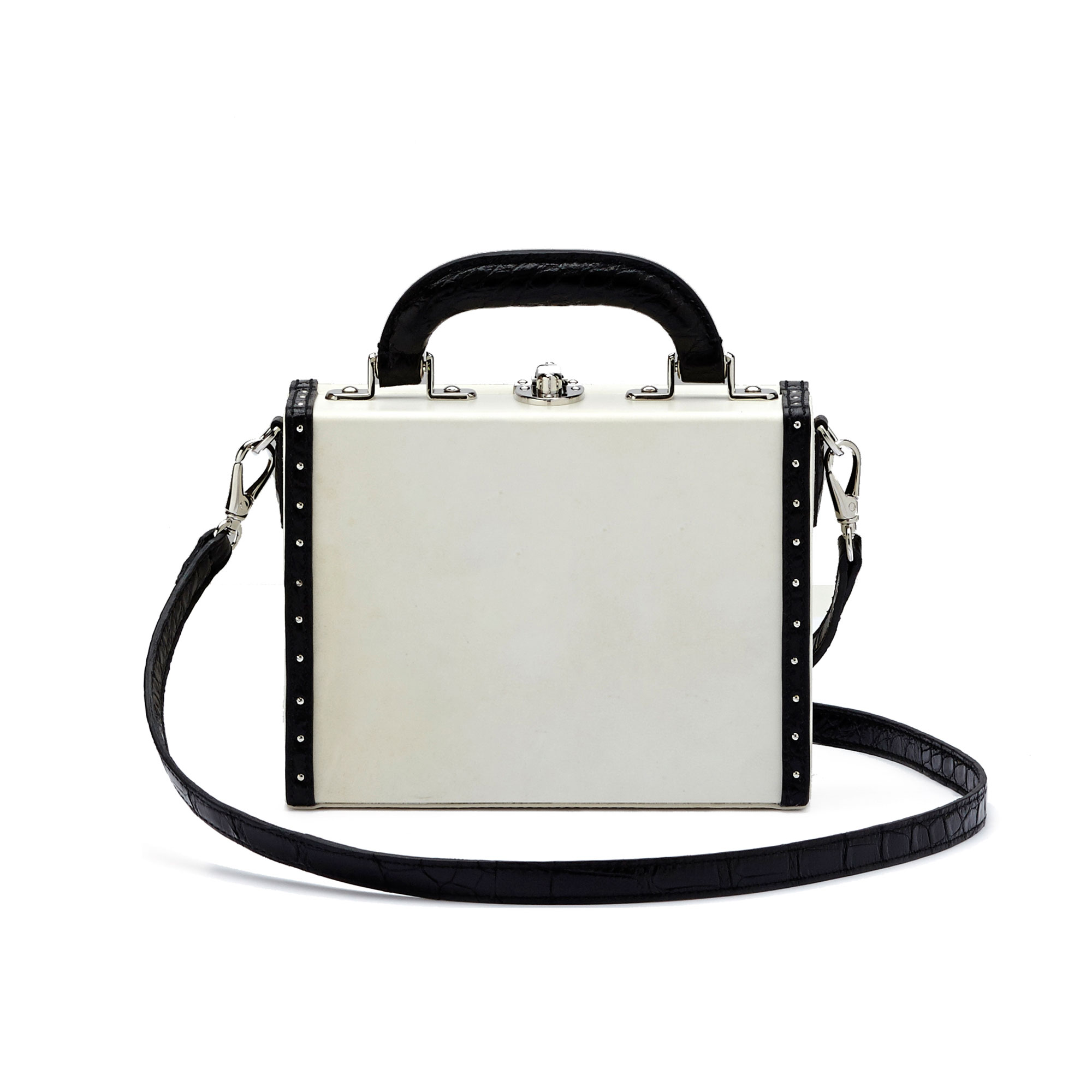 The parchment and black alligator with studs Mini Squared Bertoncina bag by Bertoni 1949 01