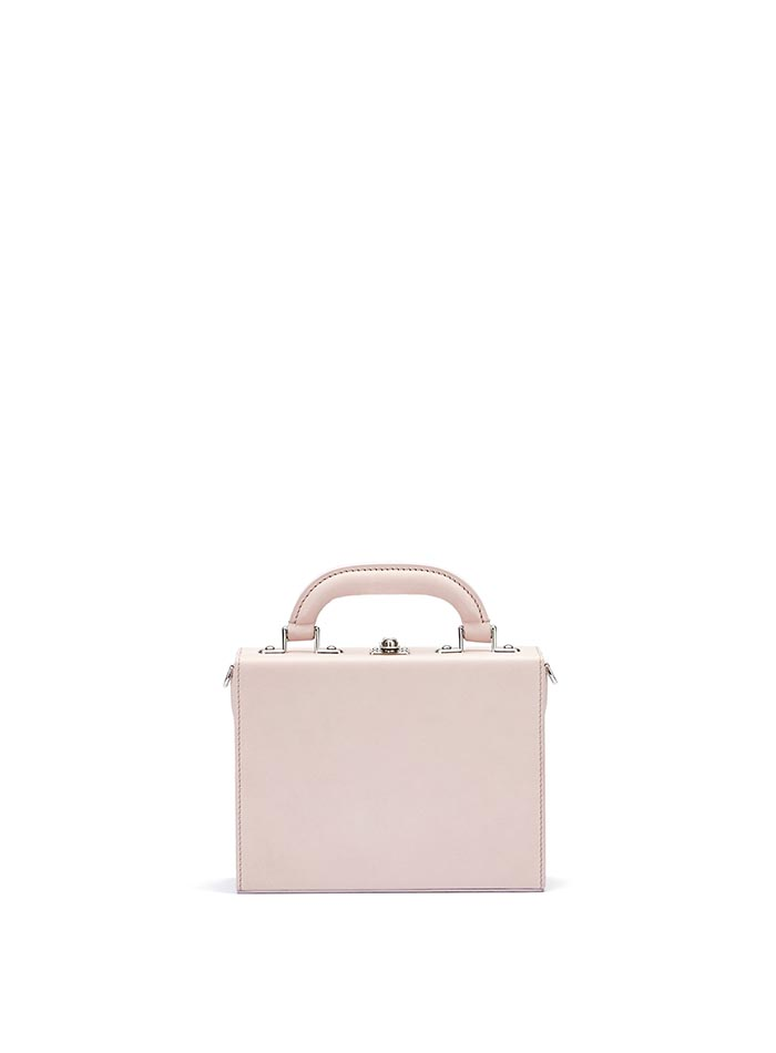 The pink french calf Mini Squared Bertoncina bag by Bertoni 1949