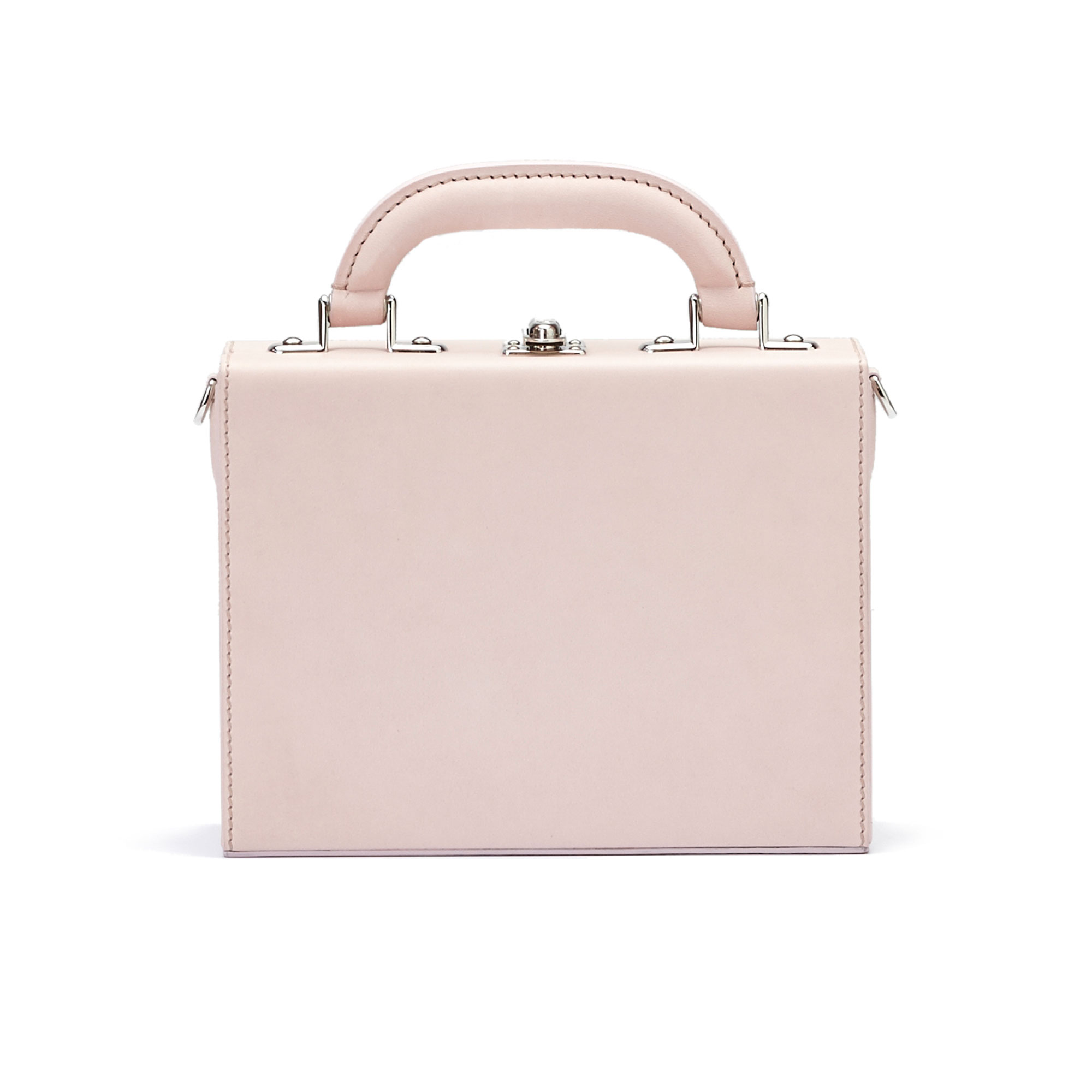The pink french calf Mini Squared Bertoncina bag by Bertoni 1949 01