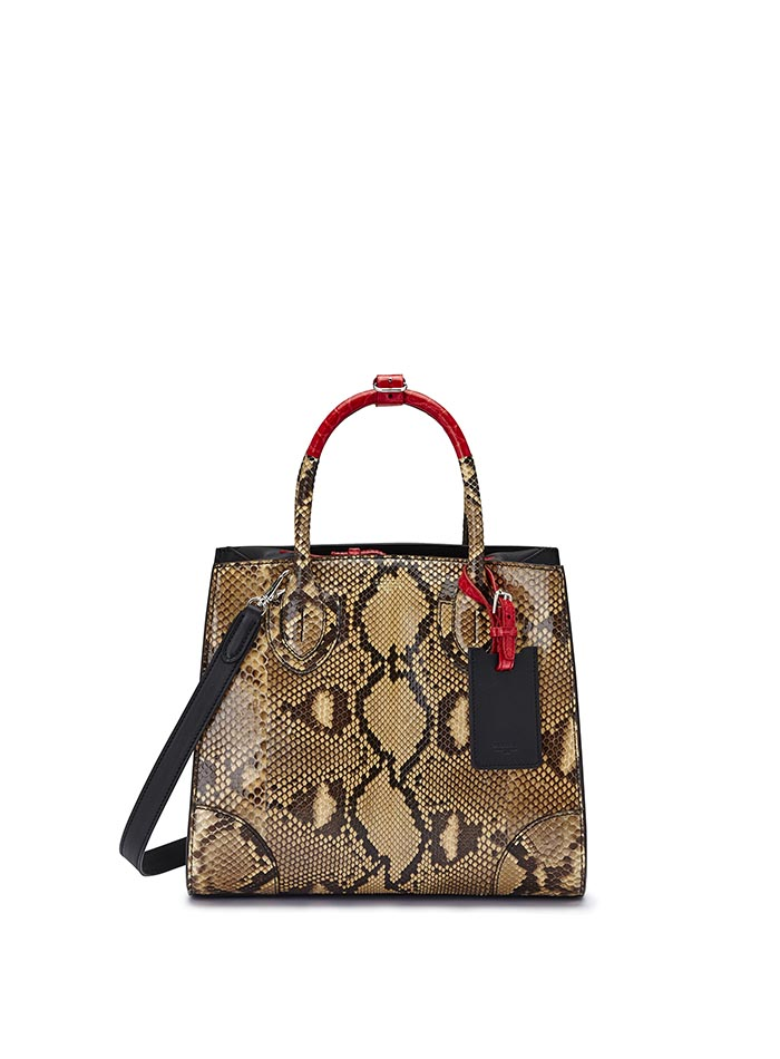 The black and red alligator, french calf, python Darcy bag by Bertoni 1949