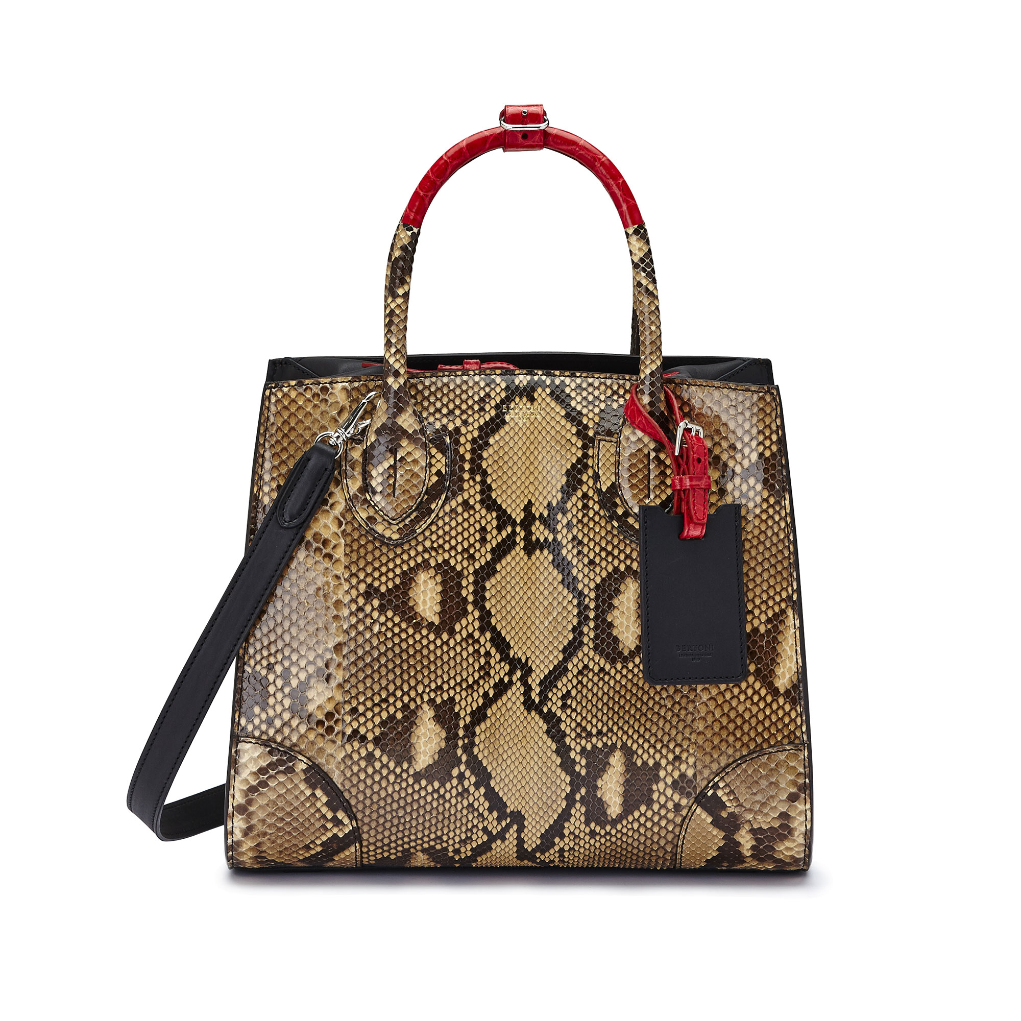 The black and red alligator, french calf, python Darcy bag by Bertoni 1949 01