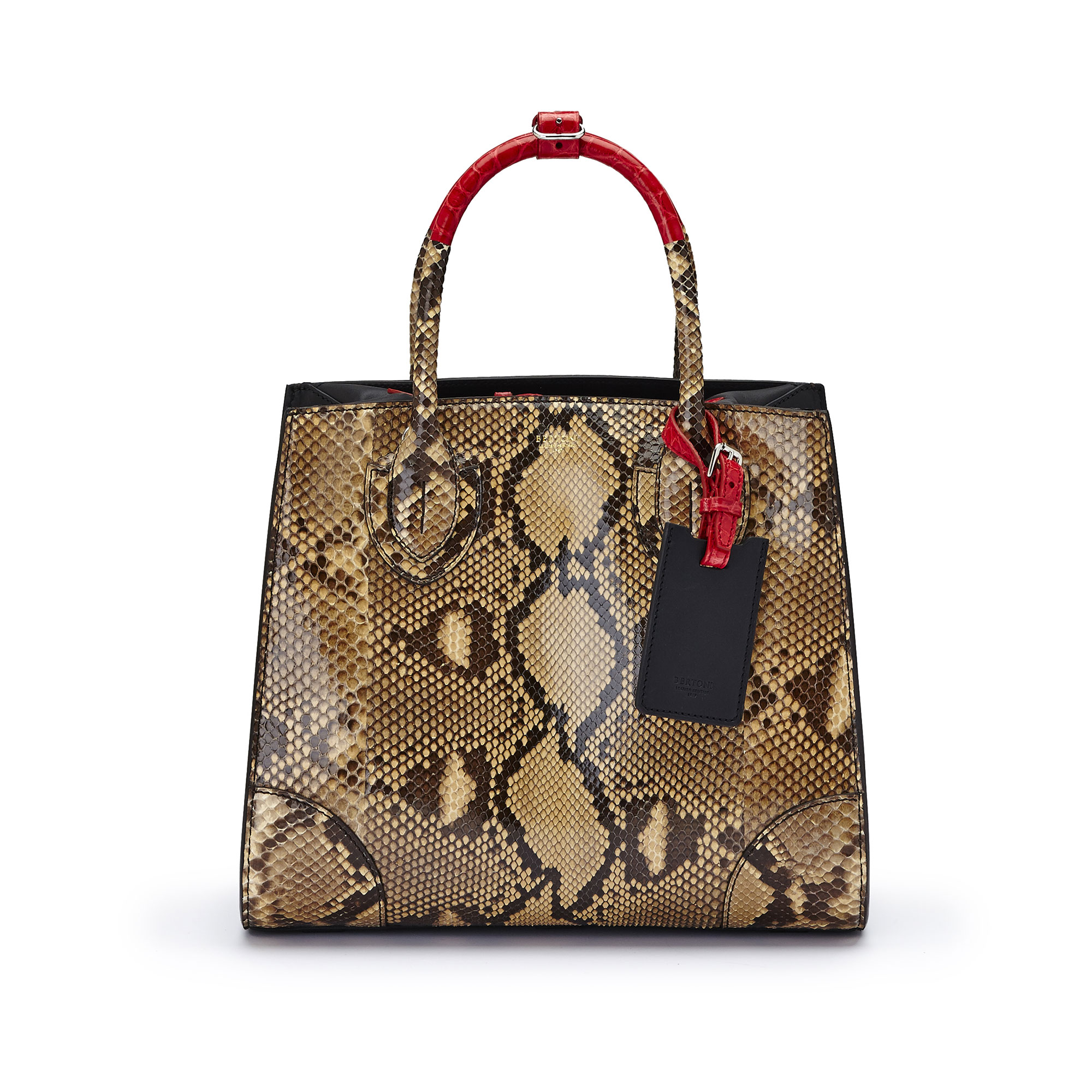 The black and red alligator, french calf, python Darcy bag by Bertoni 1949 02