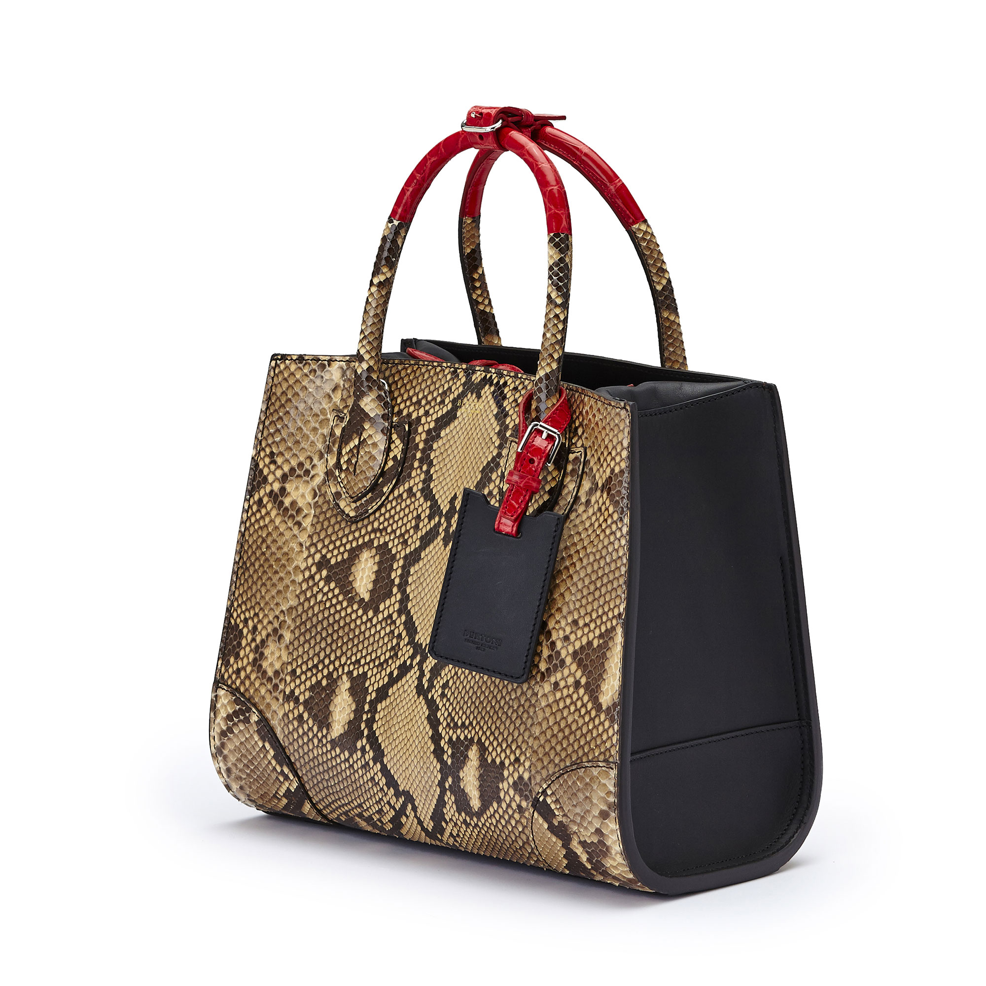 The black and red alligator, french calf, python Darcy bag by Bertoni 1949 03