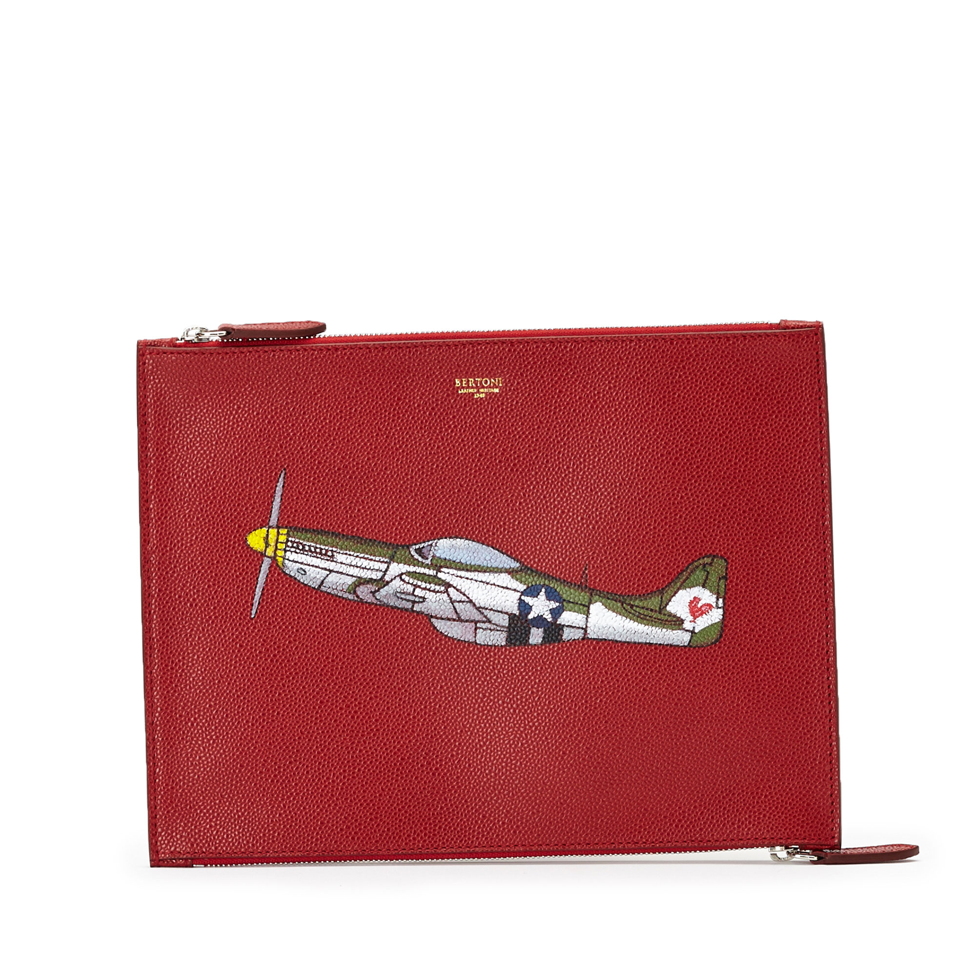 The red french calf with hand painted aeroplane Zip Pouch by Bertoni 1949 01