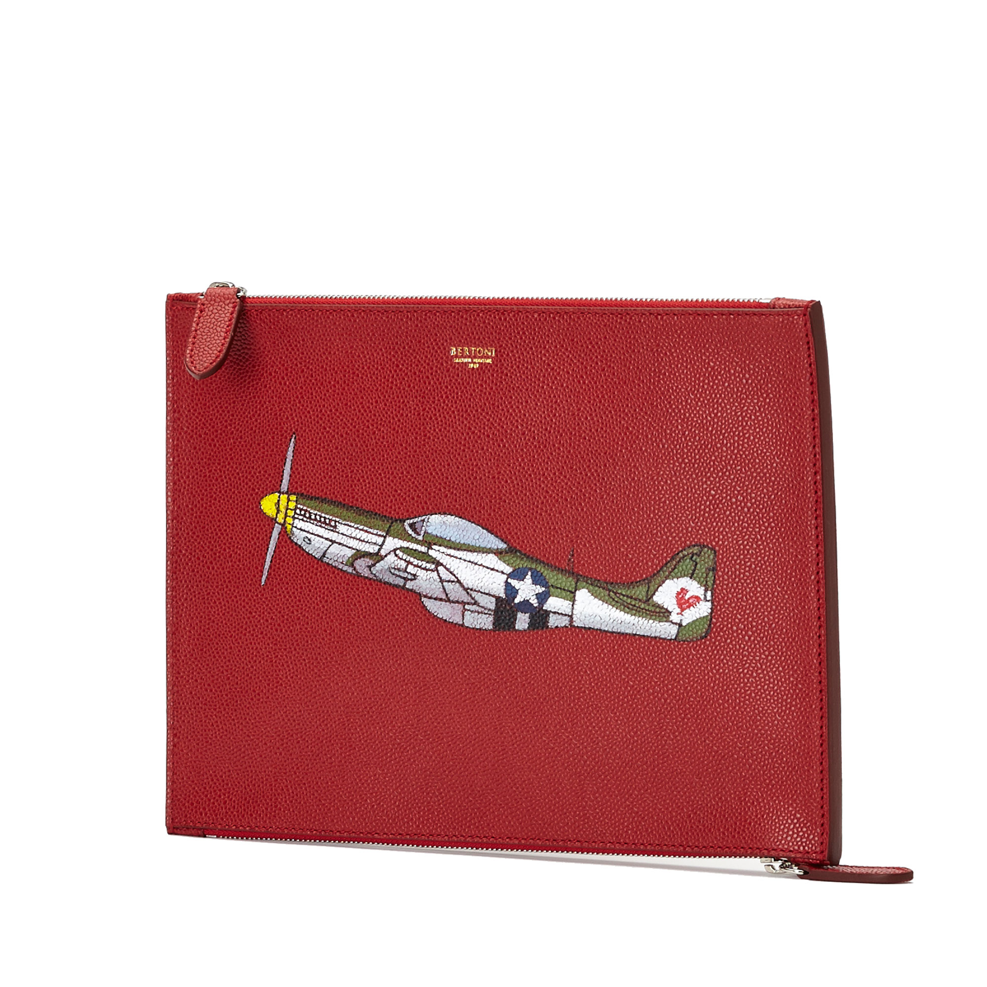 The red french calf with hand painted aeroplane Zip Pouch by Bertoni 1949 02