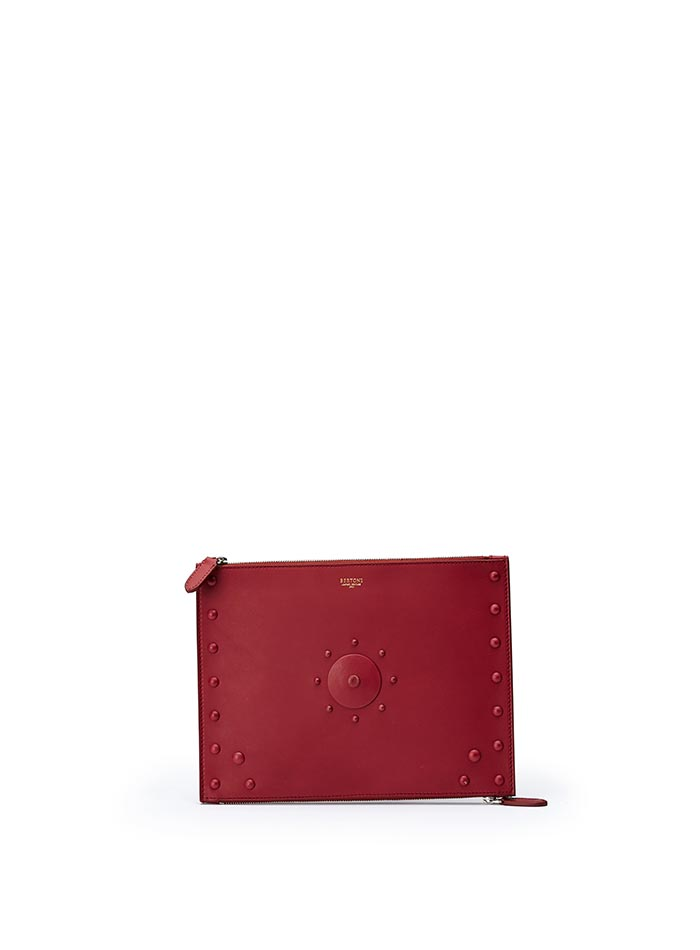 The red french calf Zip Pouch zip by Bertoni 1949