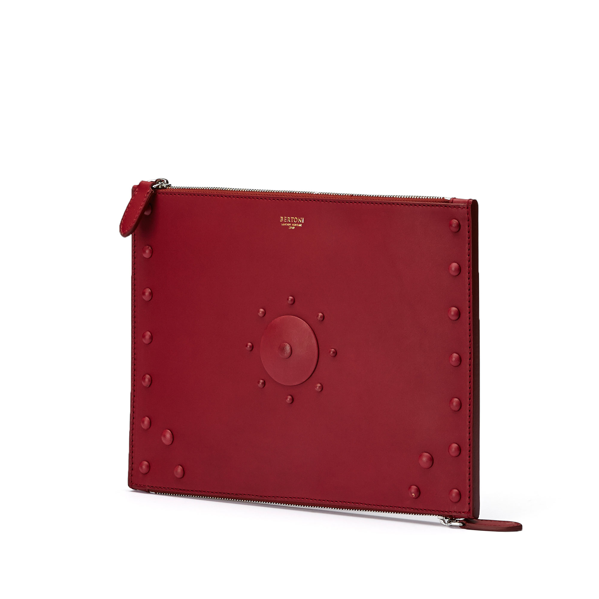 The red french calf Zip Pouch zip by Bertoni 1949 02