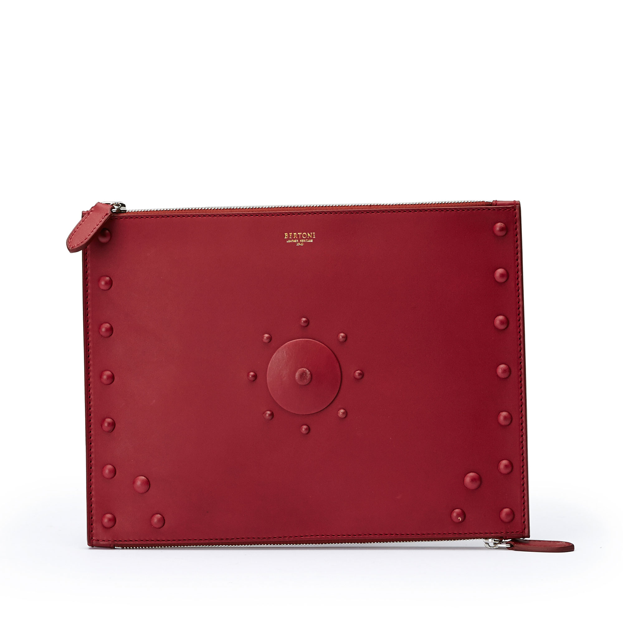 The red french calf Zip Pouch zip by Bertoni 1949 01