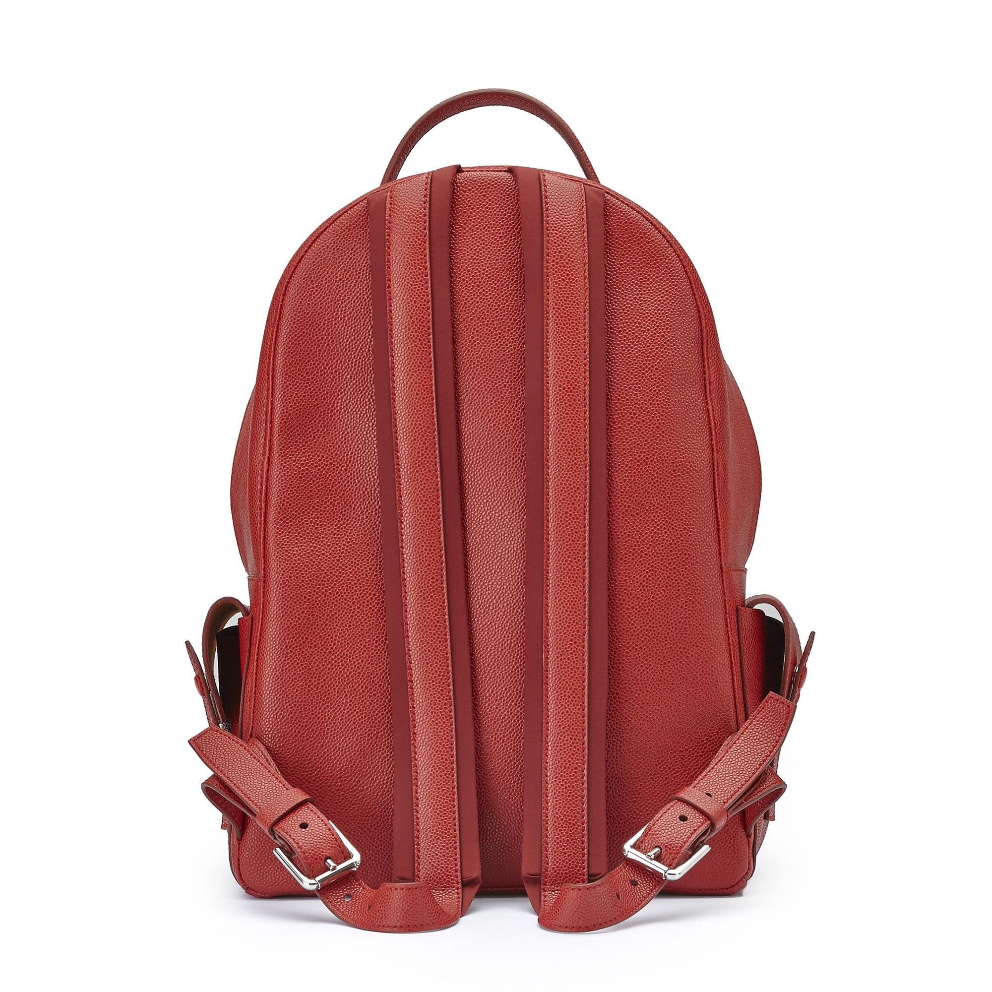 The red grain calf Zip Backpack by Bertoni 1949 03