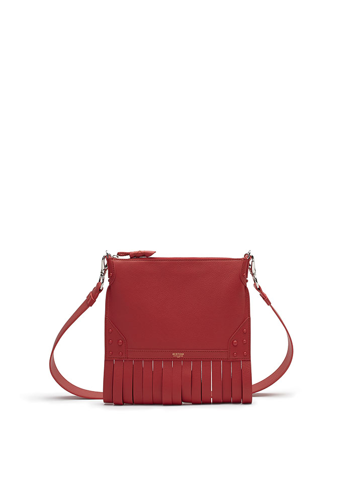 The red soft calf Franche Zip Pouch bag by Bertoni 1949