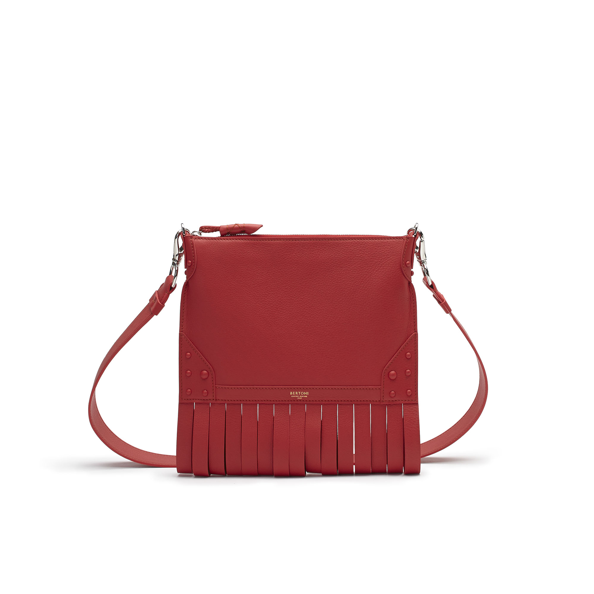 The red soft calf Franche Zip Pouch bag by Bertoni 1949 01