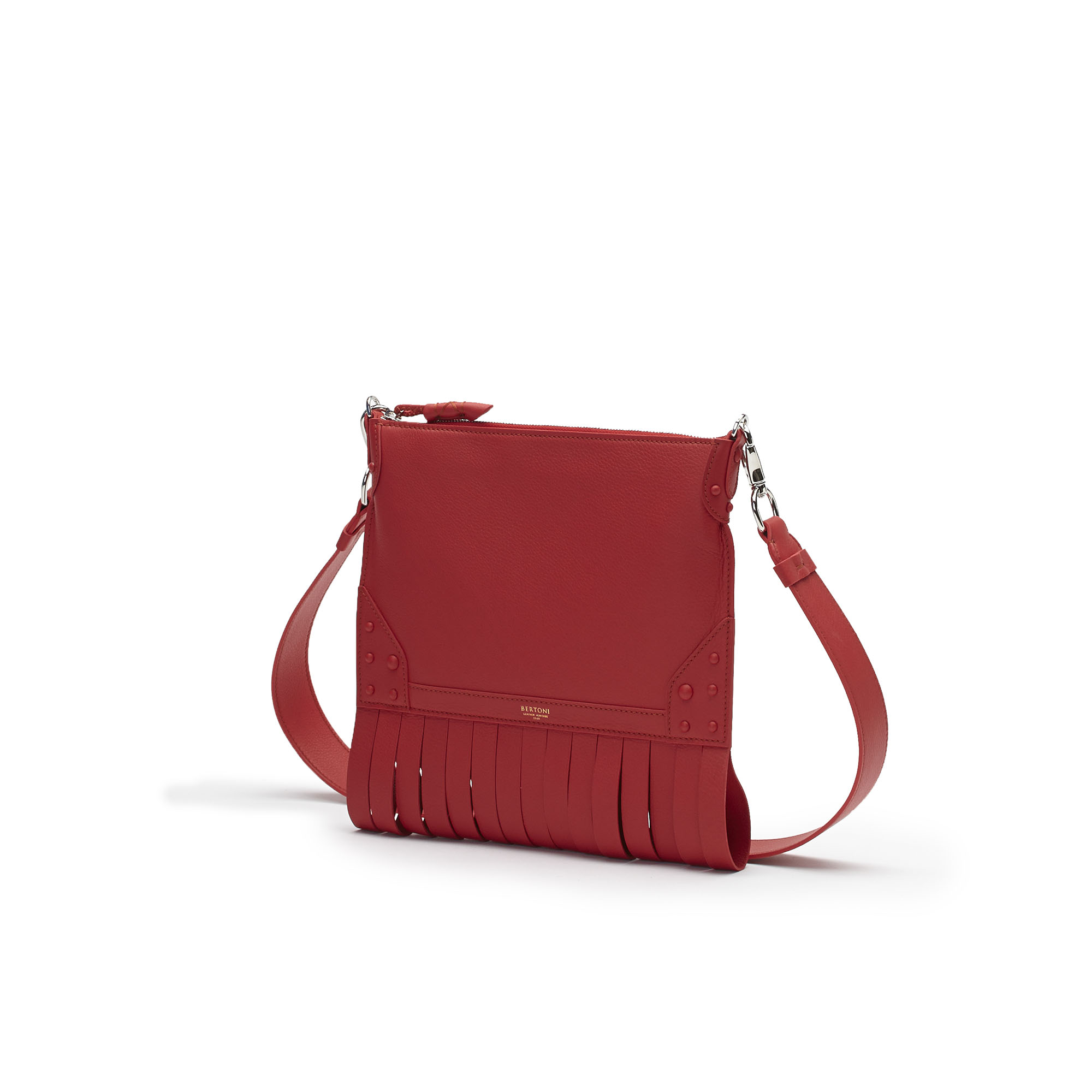 The red soft calf Franche Zip Pouch bag by Bertoni 1949 02