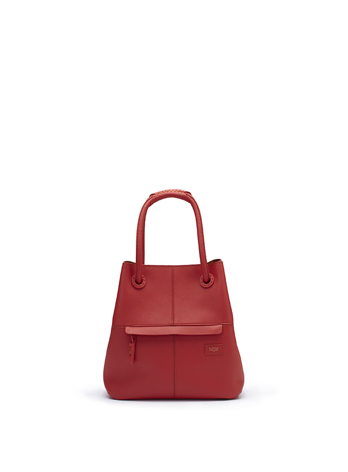 The red soft calf Satchel bag by Bertoni 1949