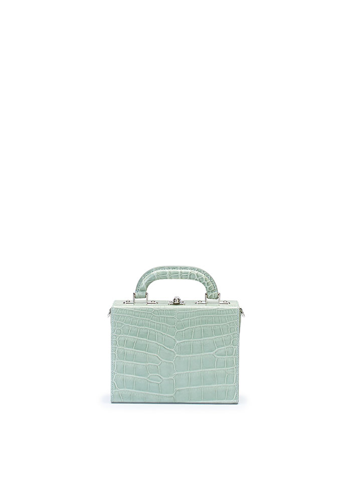 The seafoam green alligator Squared Bertoncina suitcase by Bertoni 1949