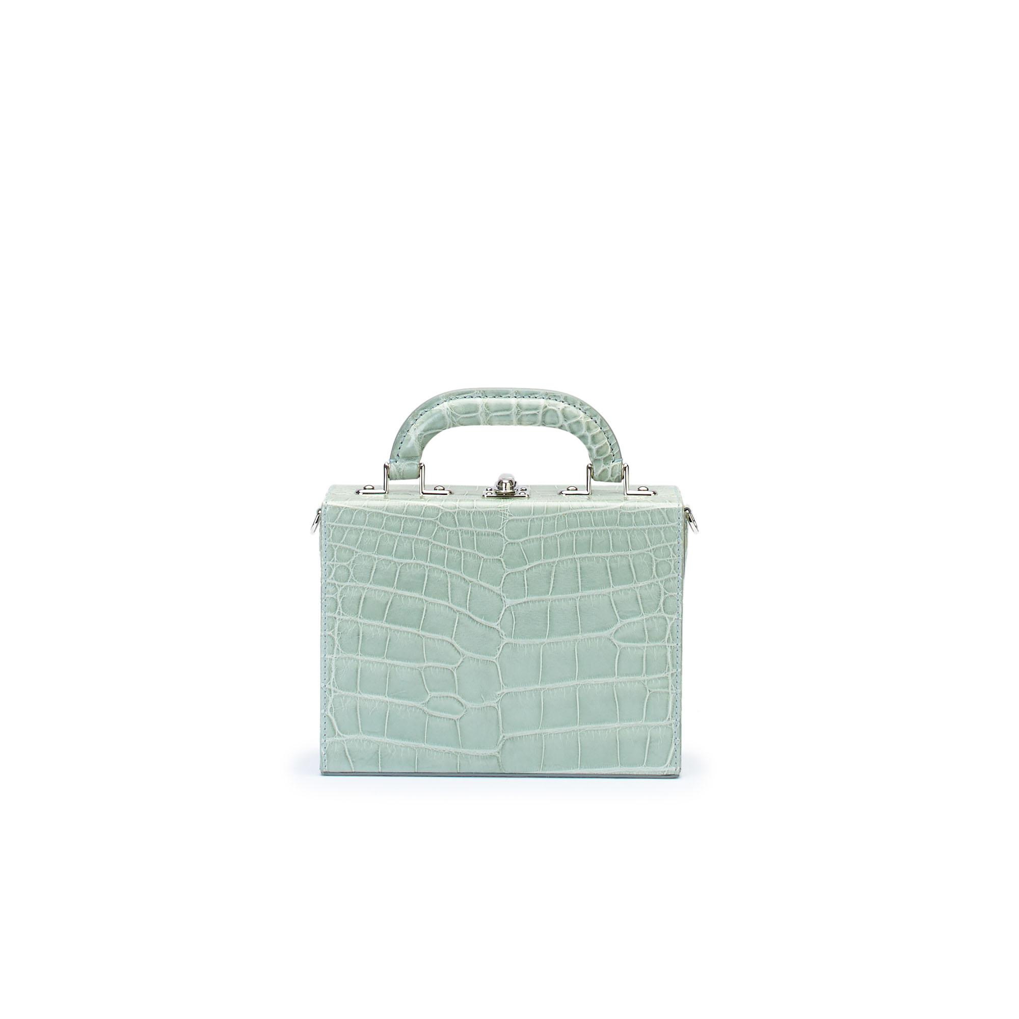 The seafoam green alligator Squared Bertoncina suitcase by Bertoni 1949 01
