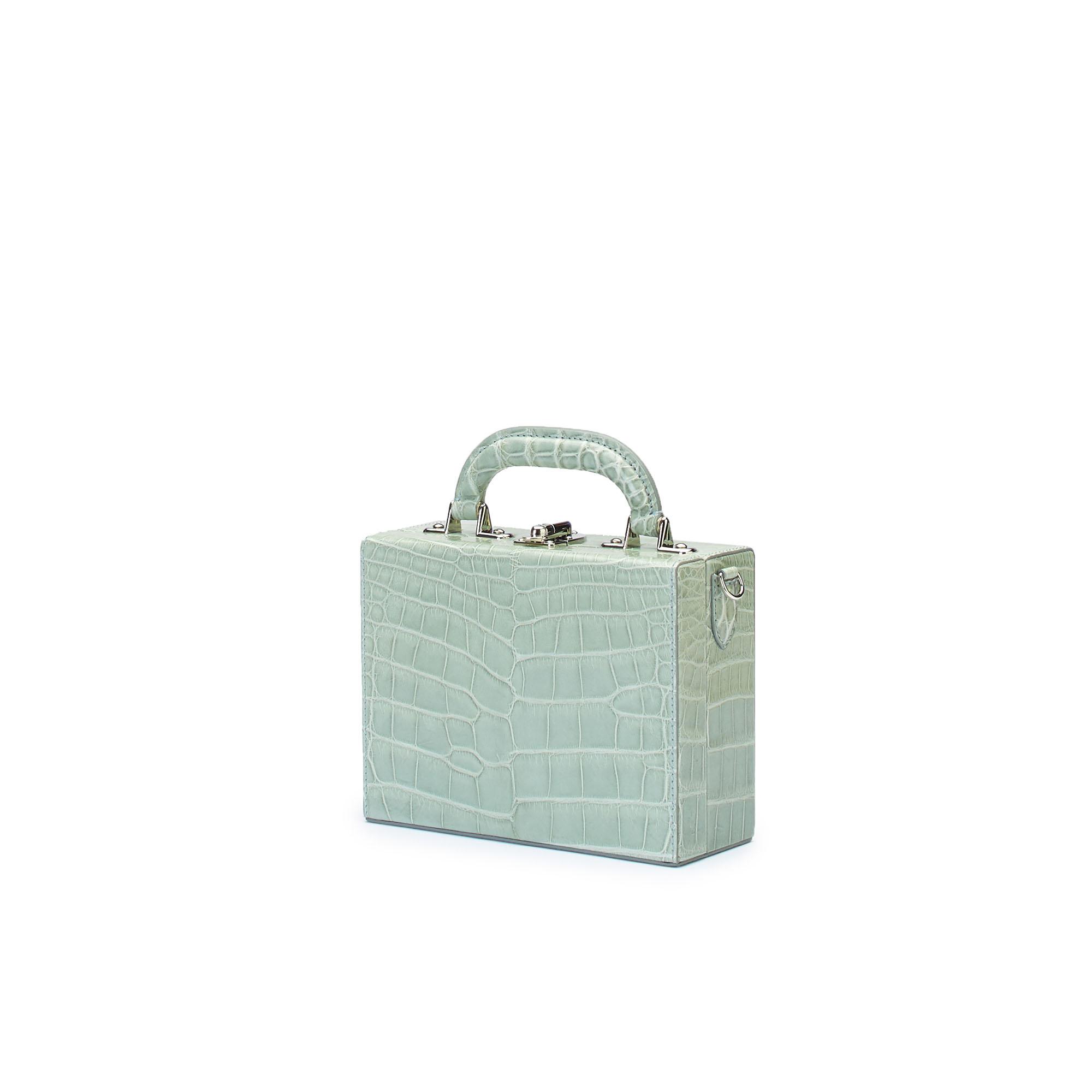 The seafoam green alligator Squared Bertoncina suitcase by Bertoni 1949 02