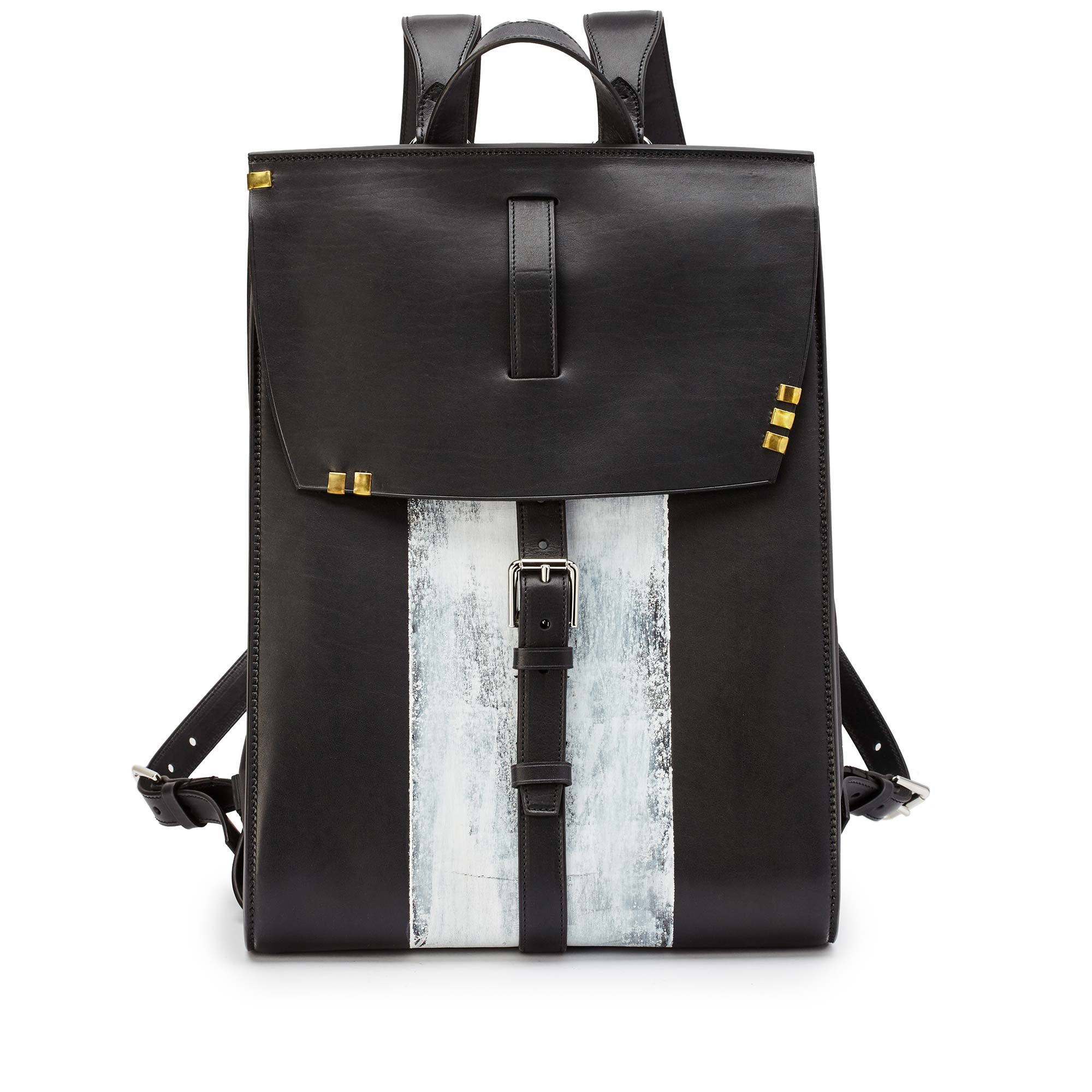 Signature-Backpack-black-ivory-rock-calf-bag-Bertoni-1949