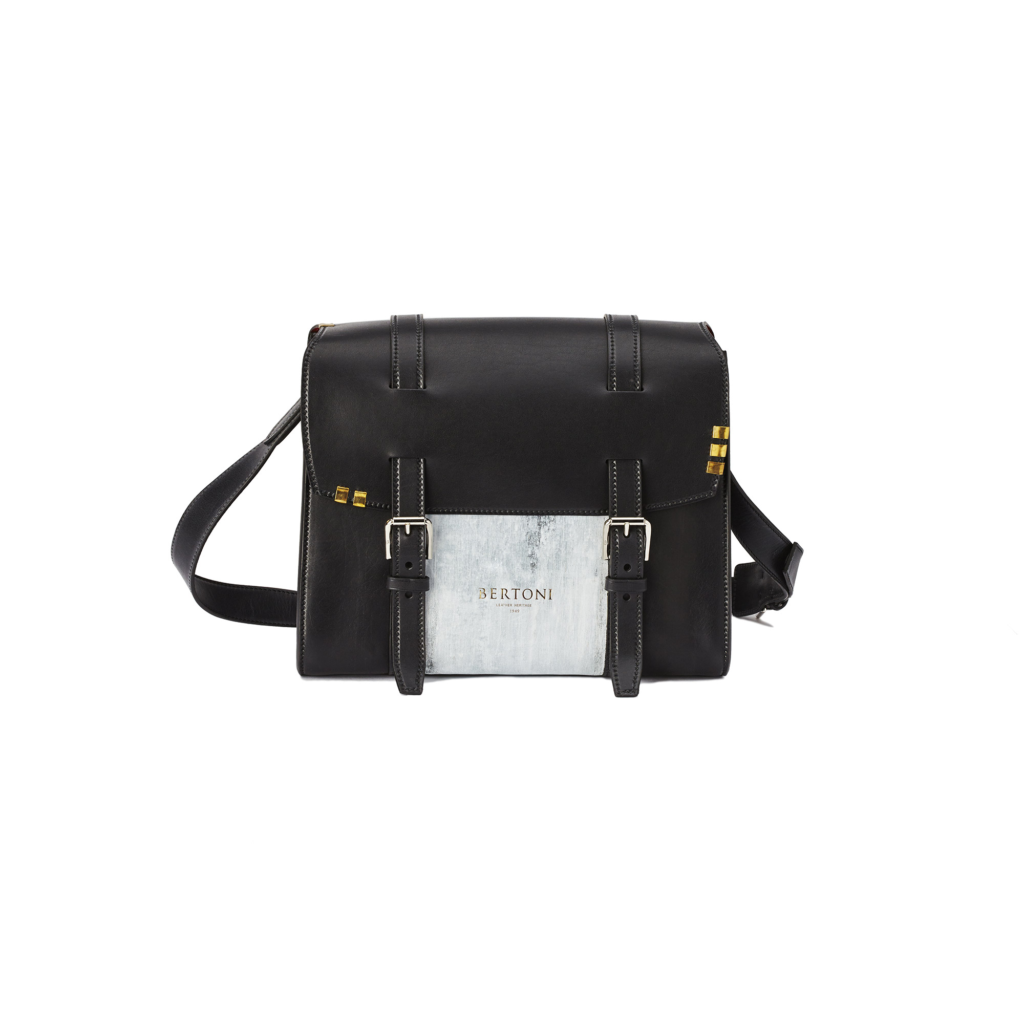 Signature-Messenger-black-rock-calf-bag-Bertoni-1949