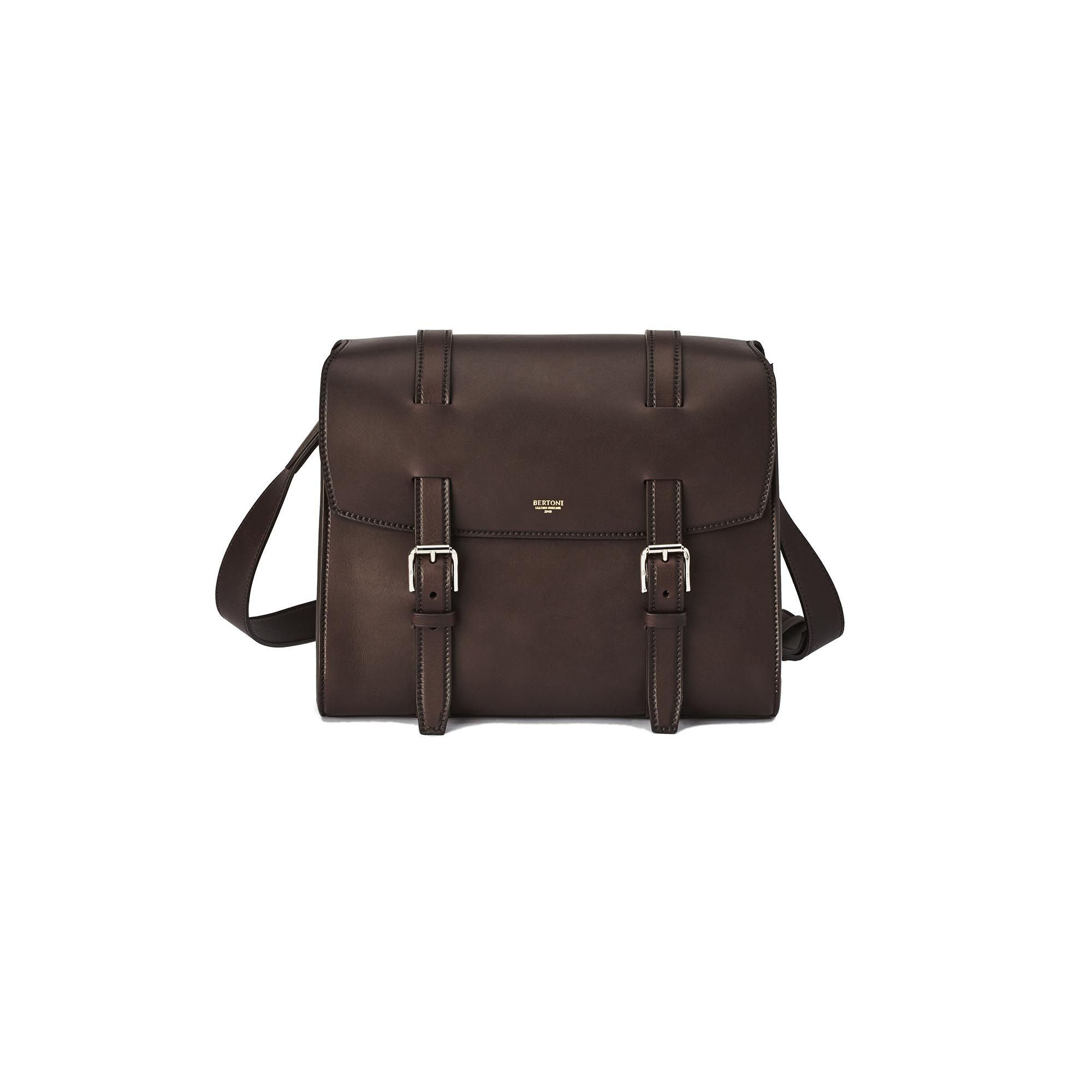Signature-Messenger-dark-brown-french-calf-bag-Bertoni-1949
