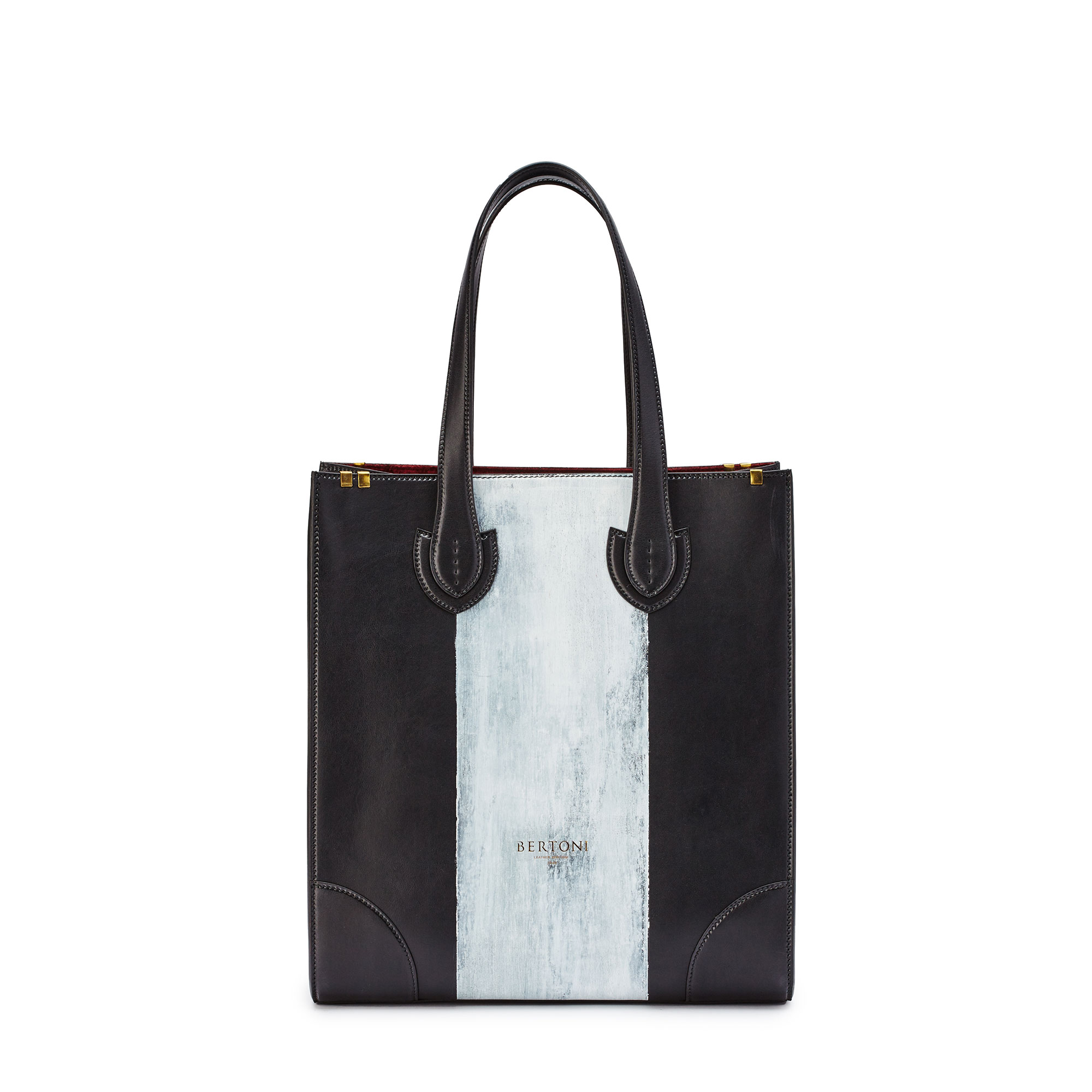 Signature-Tote-black-rock-calf-bag-Bertoni-1949