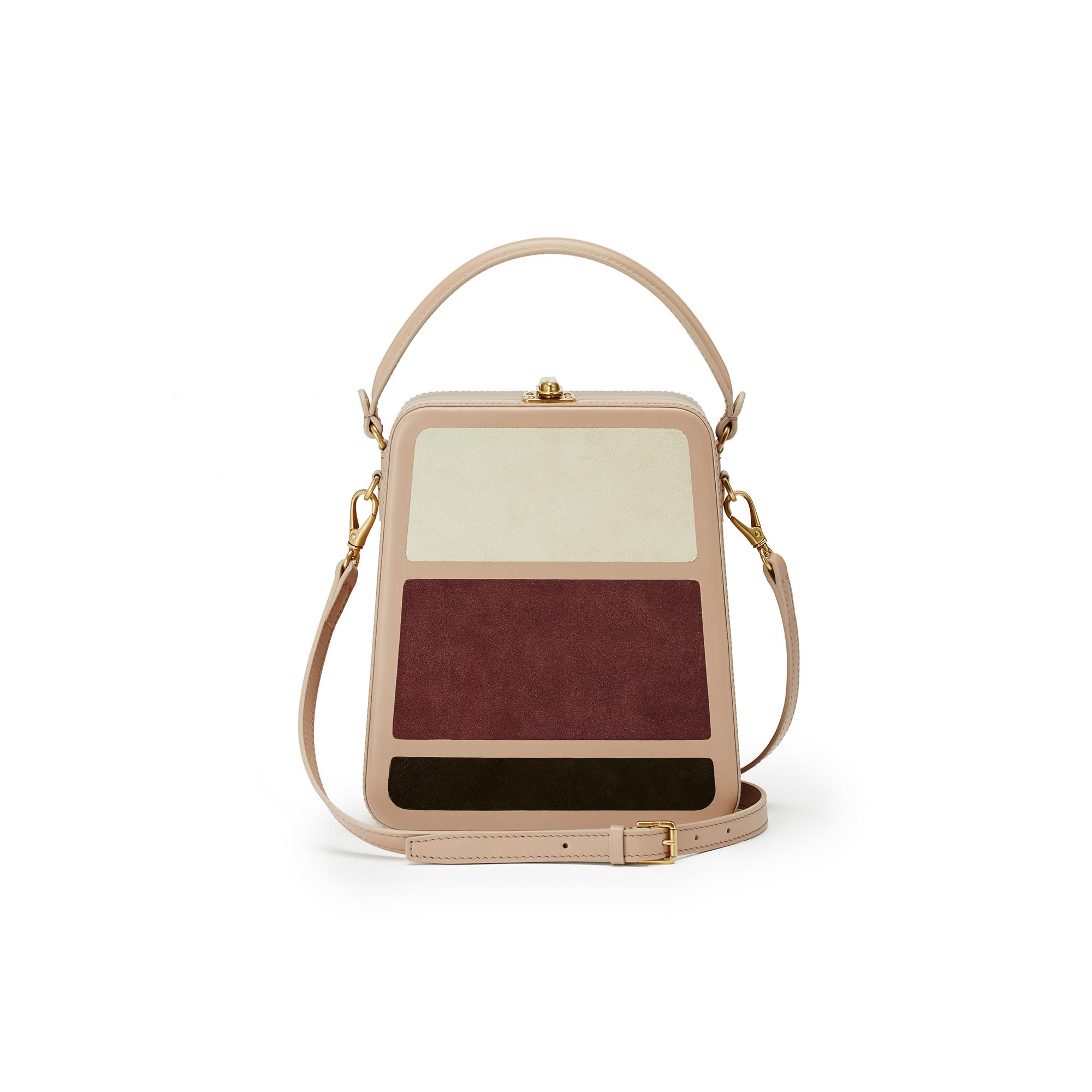 Tall-Bertoncina-rose-ivory-wine-suede-bag-Bertoni-1949