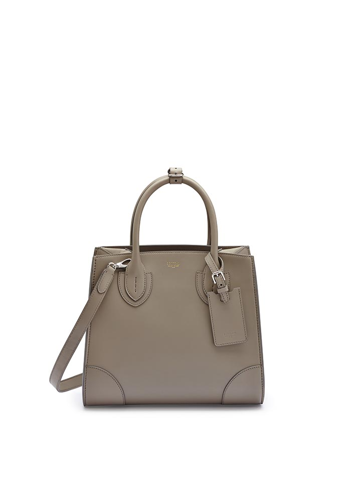 The taupe french calf Darcy medium bag by Bertoni 1949
