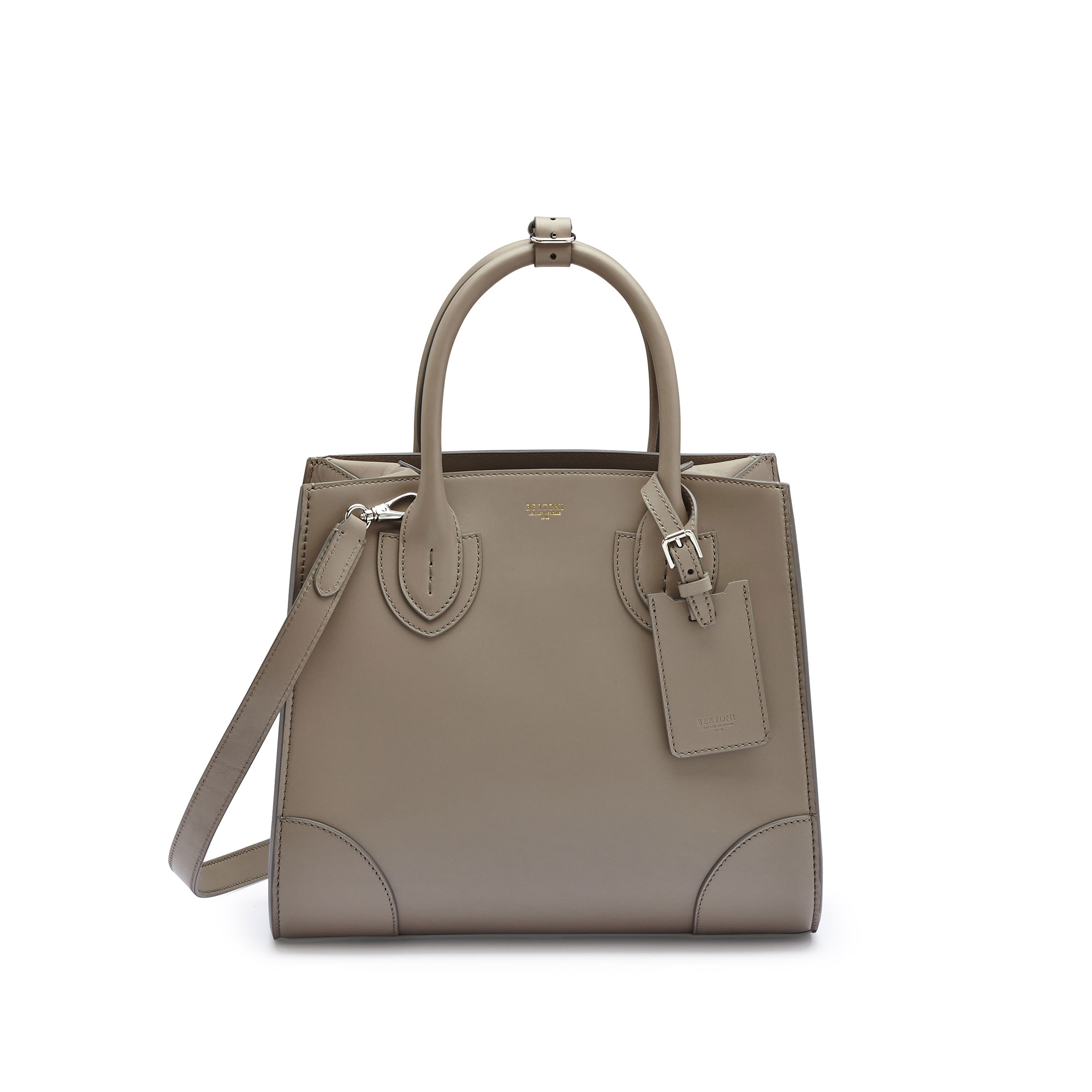 The taupe french calf Darcy medium bag by Bertoni 1949 01