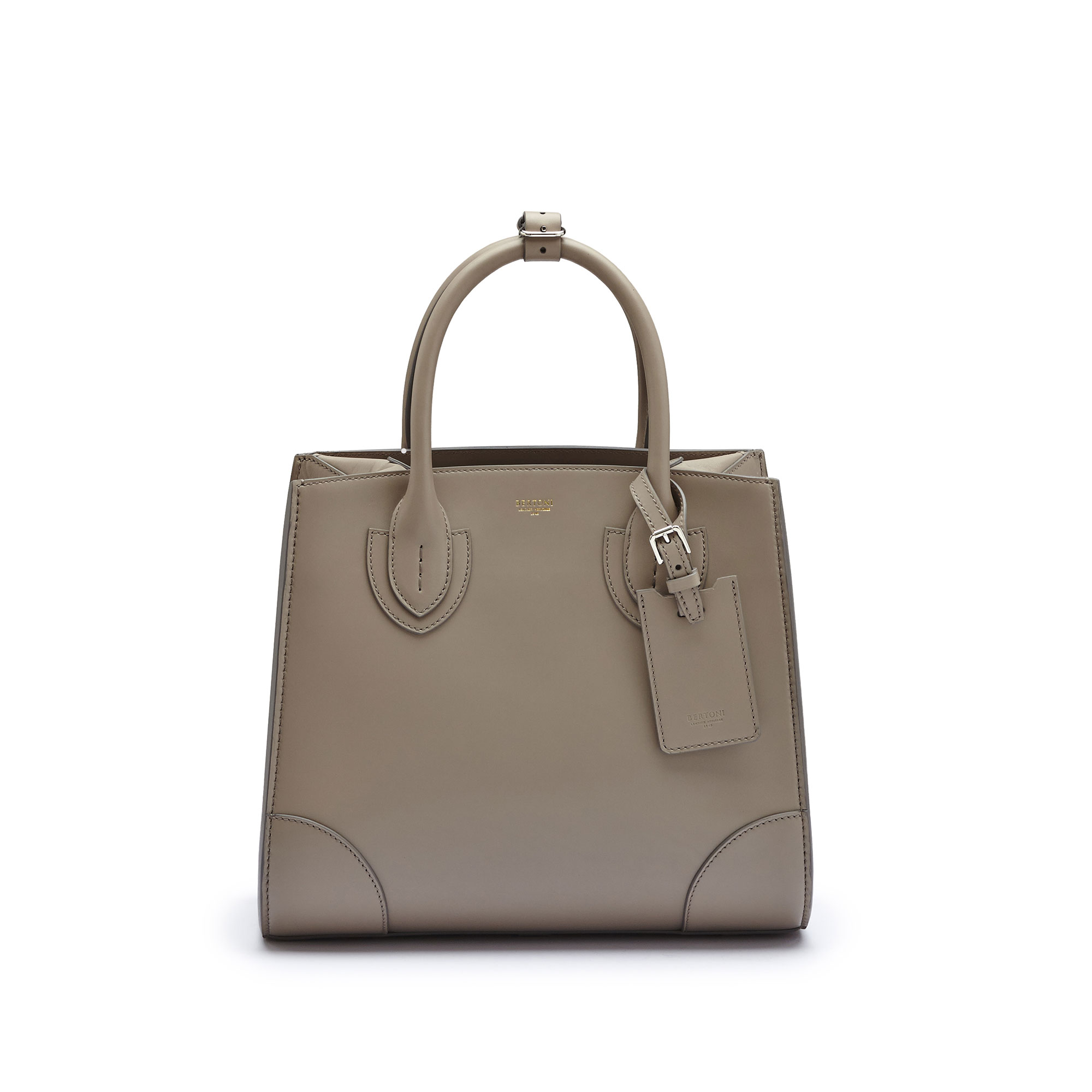 The taupe french calf Darcy medium bag by Bertoni 1949 02