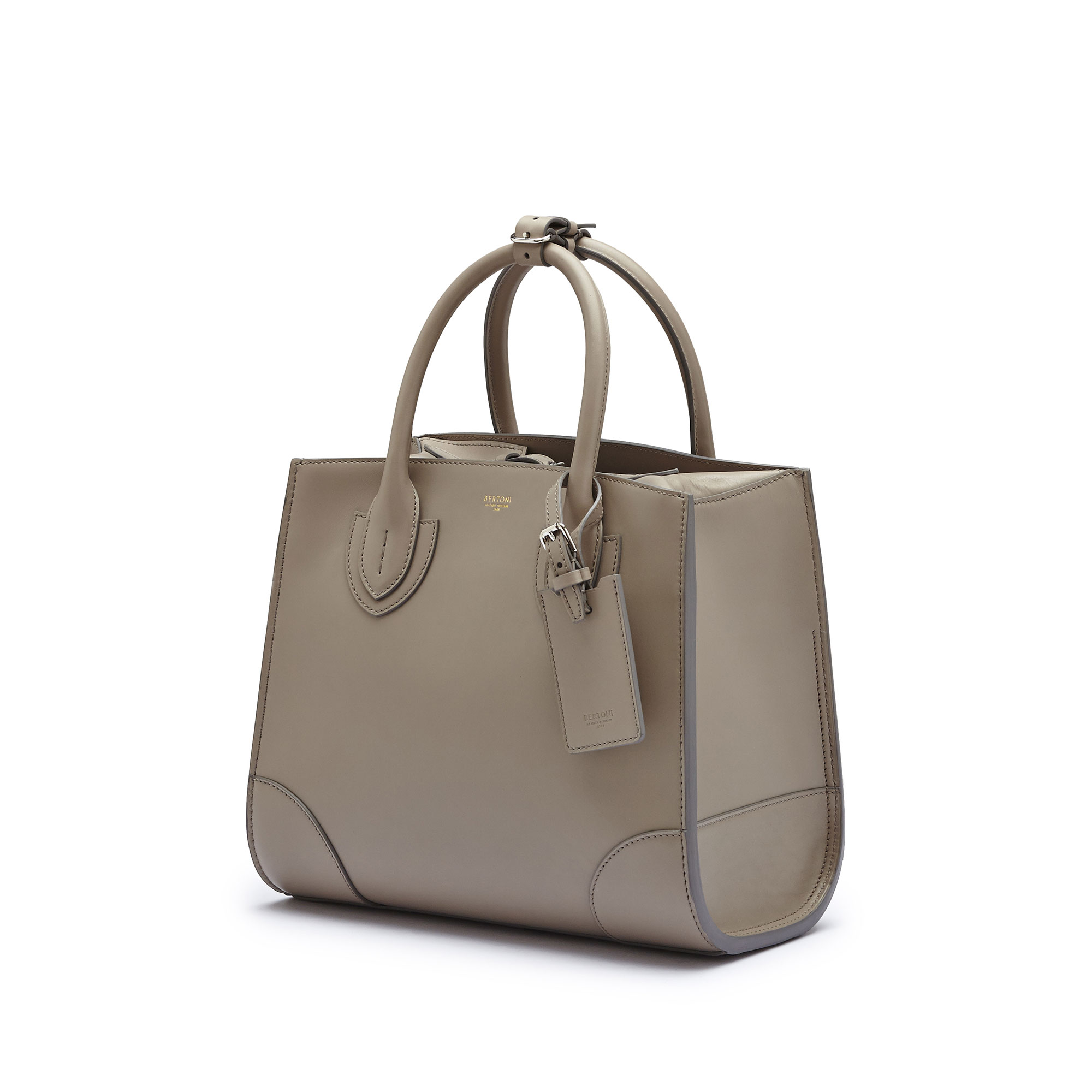 The taupe french calf Darcy medium bag by Bertoni 1949 03