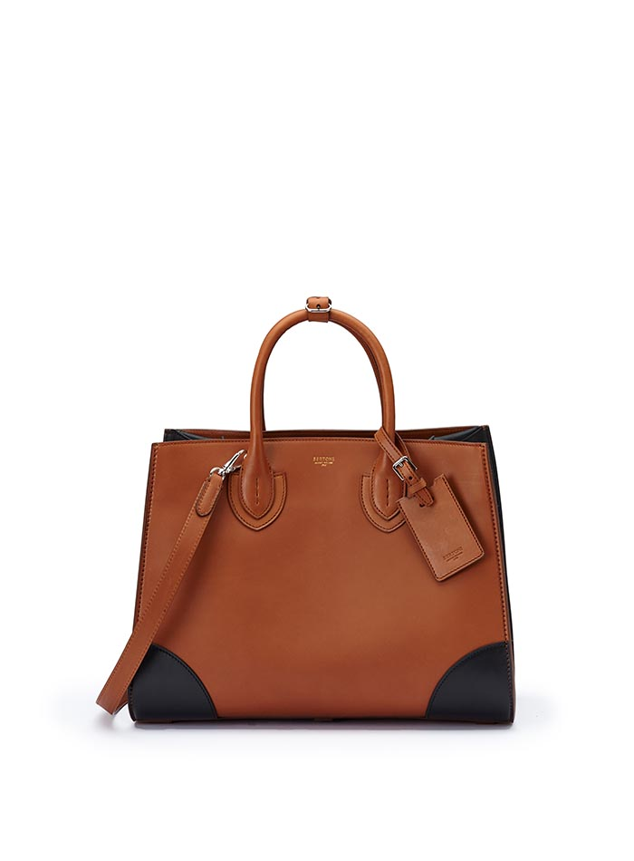 The terrabruciata and black french calf Darcy large bag by Bertoni 1949