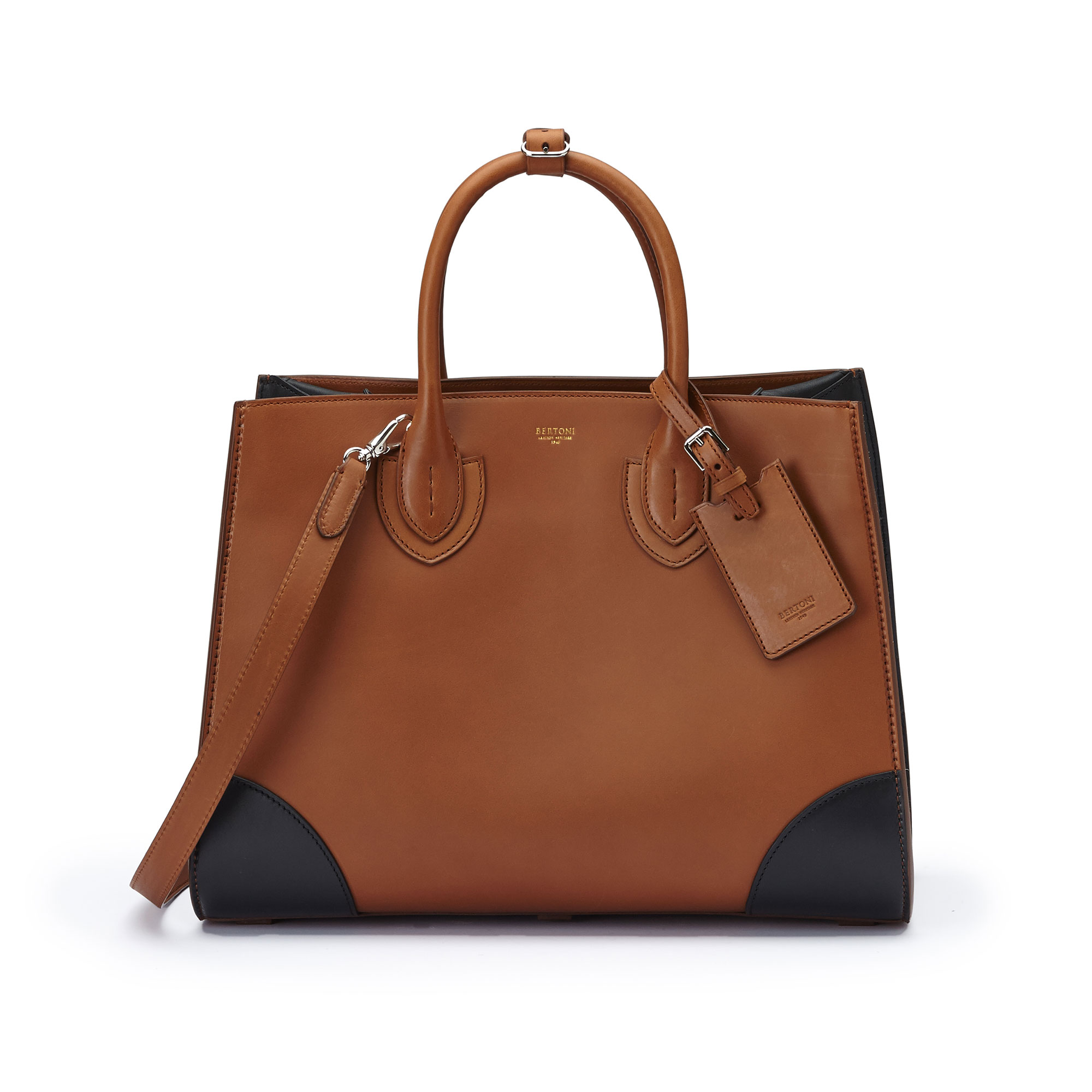 The terrabruciata and black french calf Darcy large bag by Bertoni 1949 01