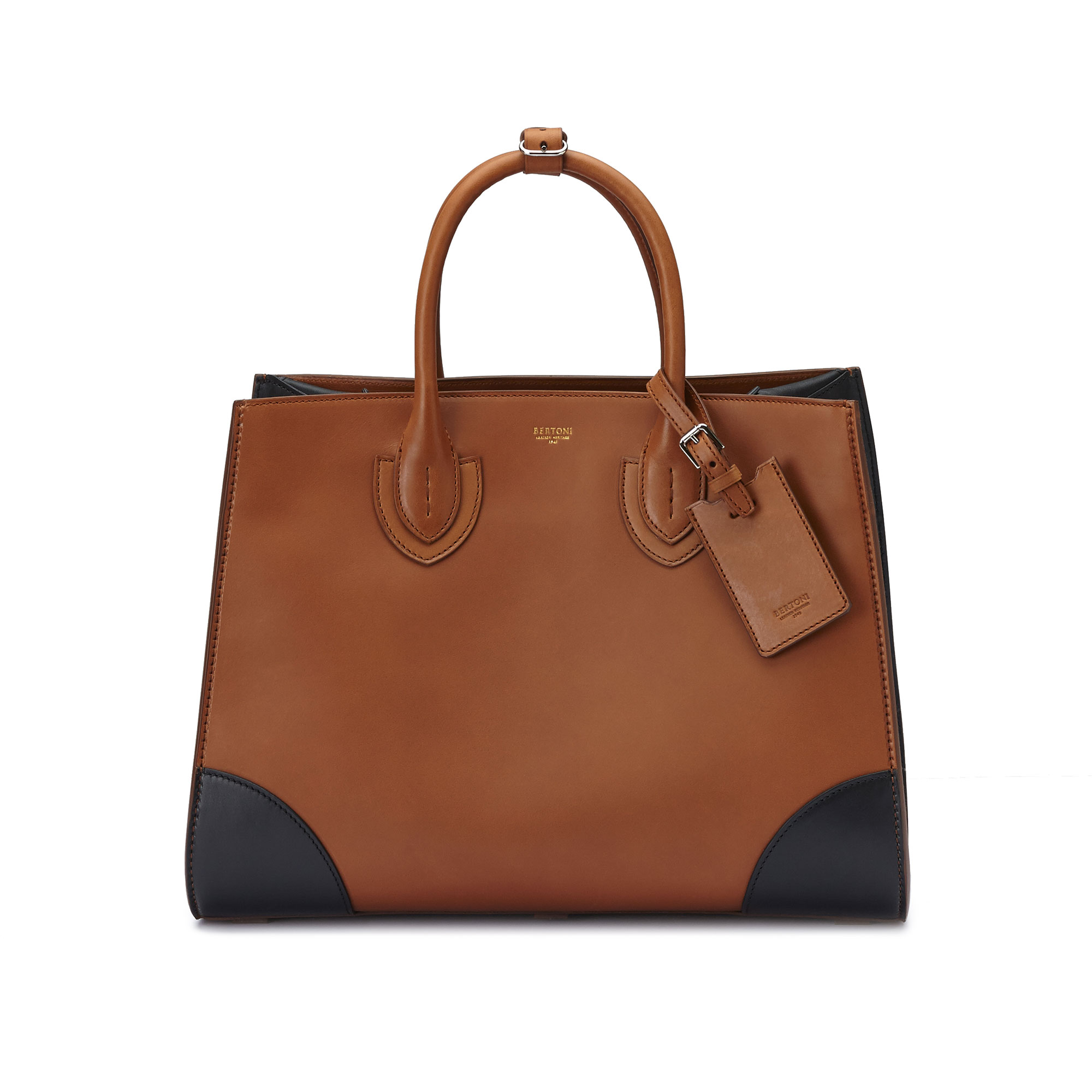 The terrabruciata and black french calf Darcy large bag by Bertoni 1949 02