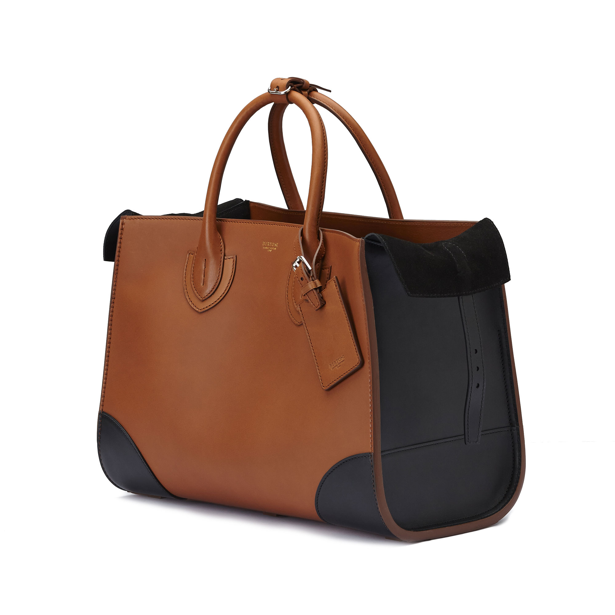 The terrabruciata and black french calf Darcy large bag by Bertoni 1949 04