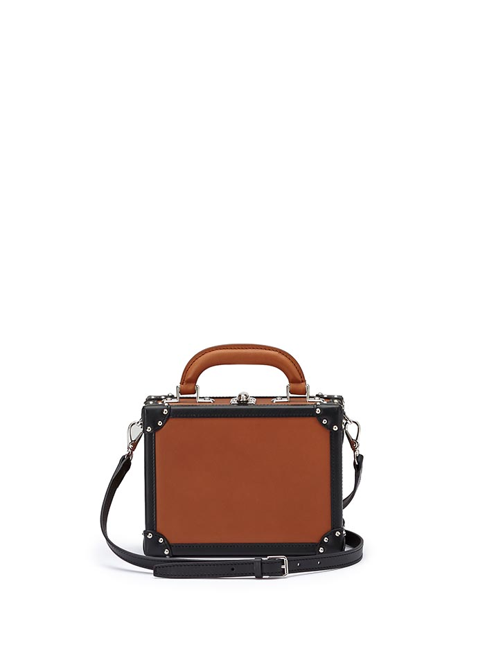 The terrabruciata and black french calf Mini Squared Bertoncina bag by Bertoni 1949