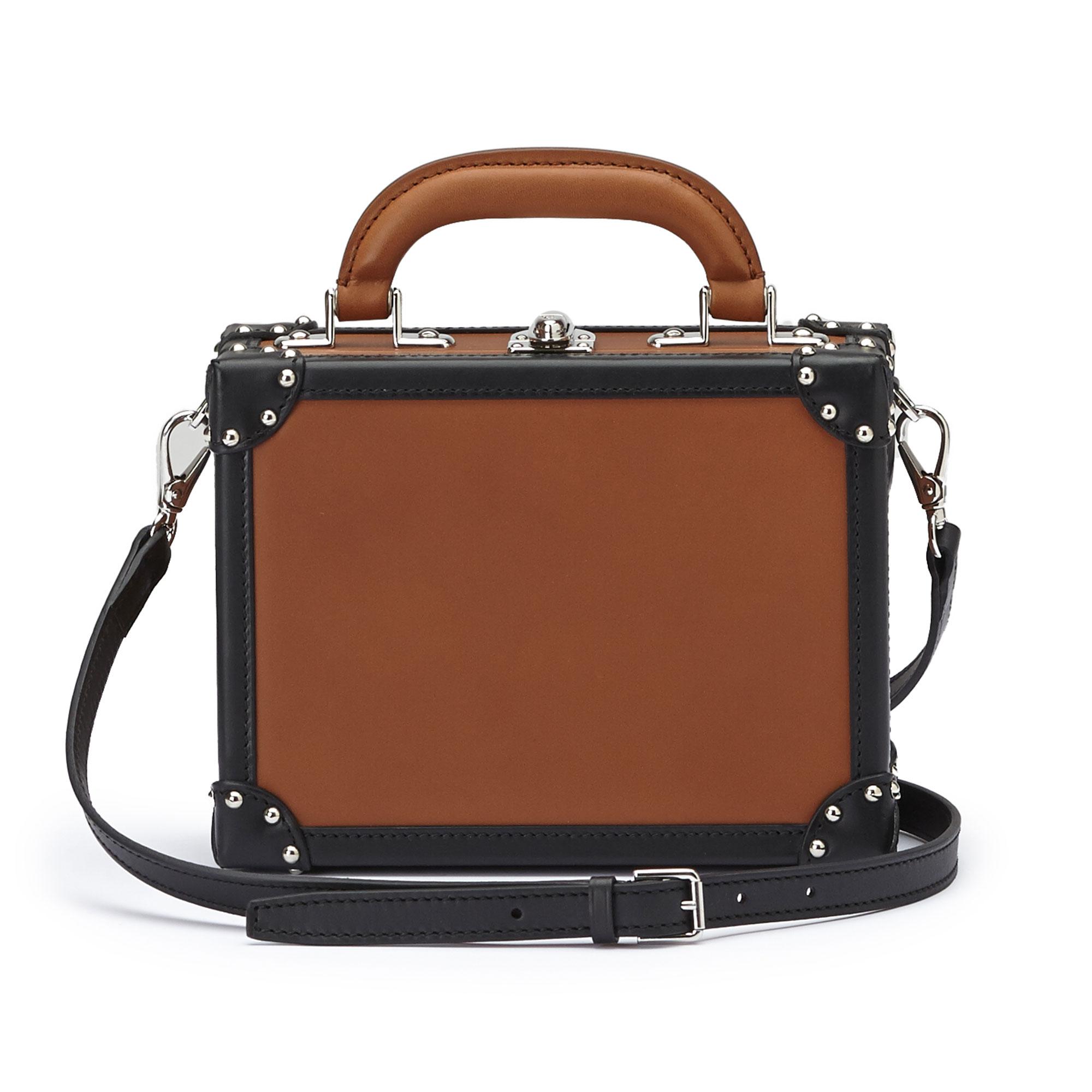 The terrabruciata and black french calf Mini Squared Bertoncina bag by Bertoni 1949 02
