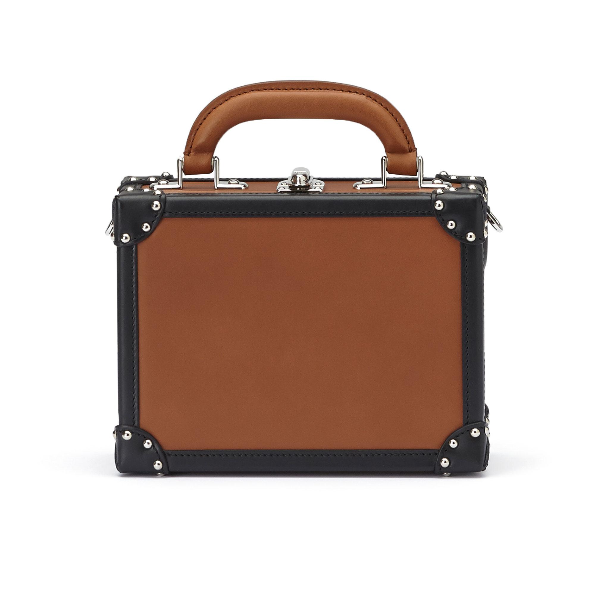 The terrabruciata and black french calf Mini Squared Bertoncina bag by Bertoni 1949 01