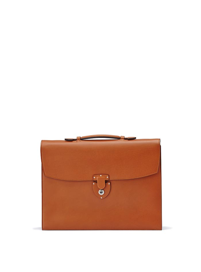 The terrabruciata french calf Double Gusset Briefcase by Bertoni