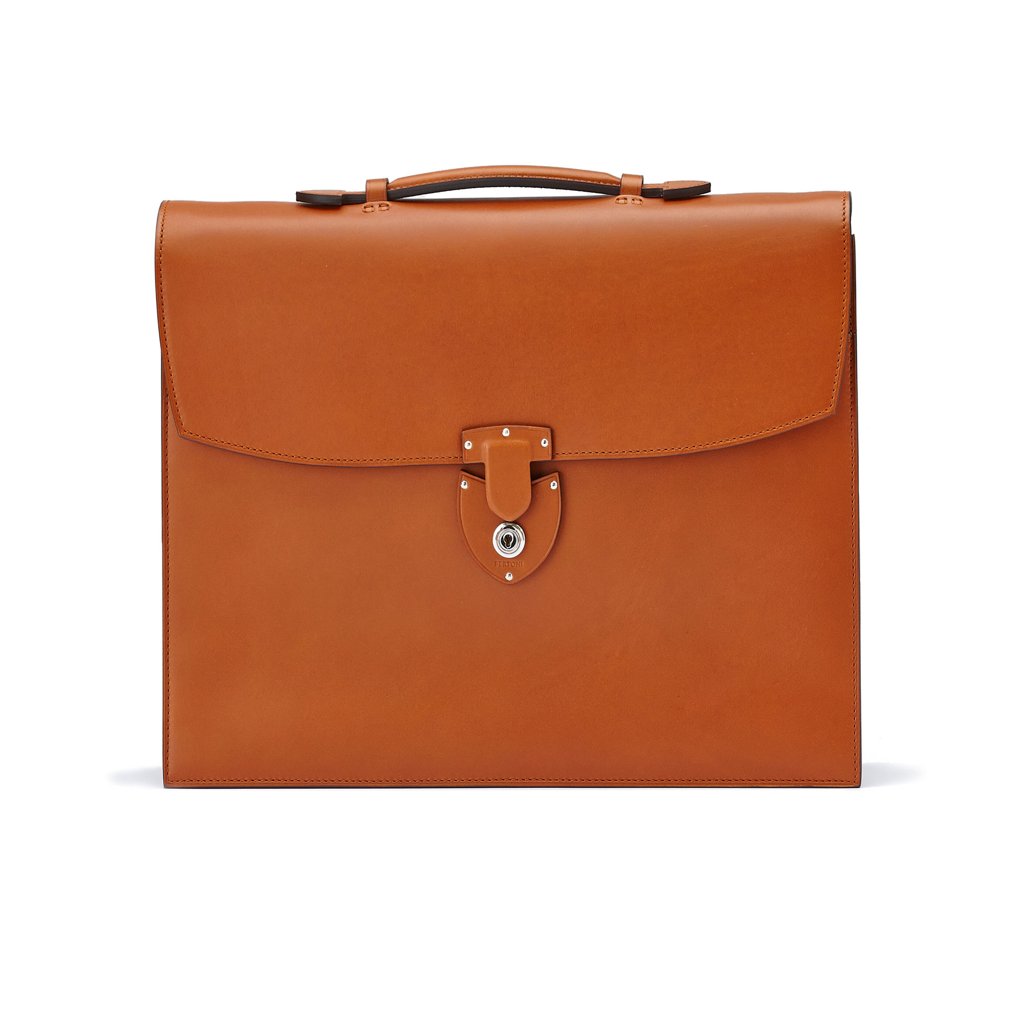 The terrabruciata french calf Double Gusset Briefcase by Bertoni 01