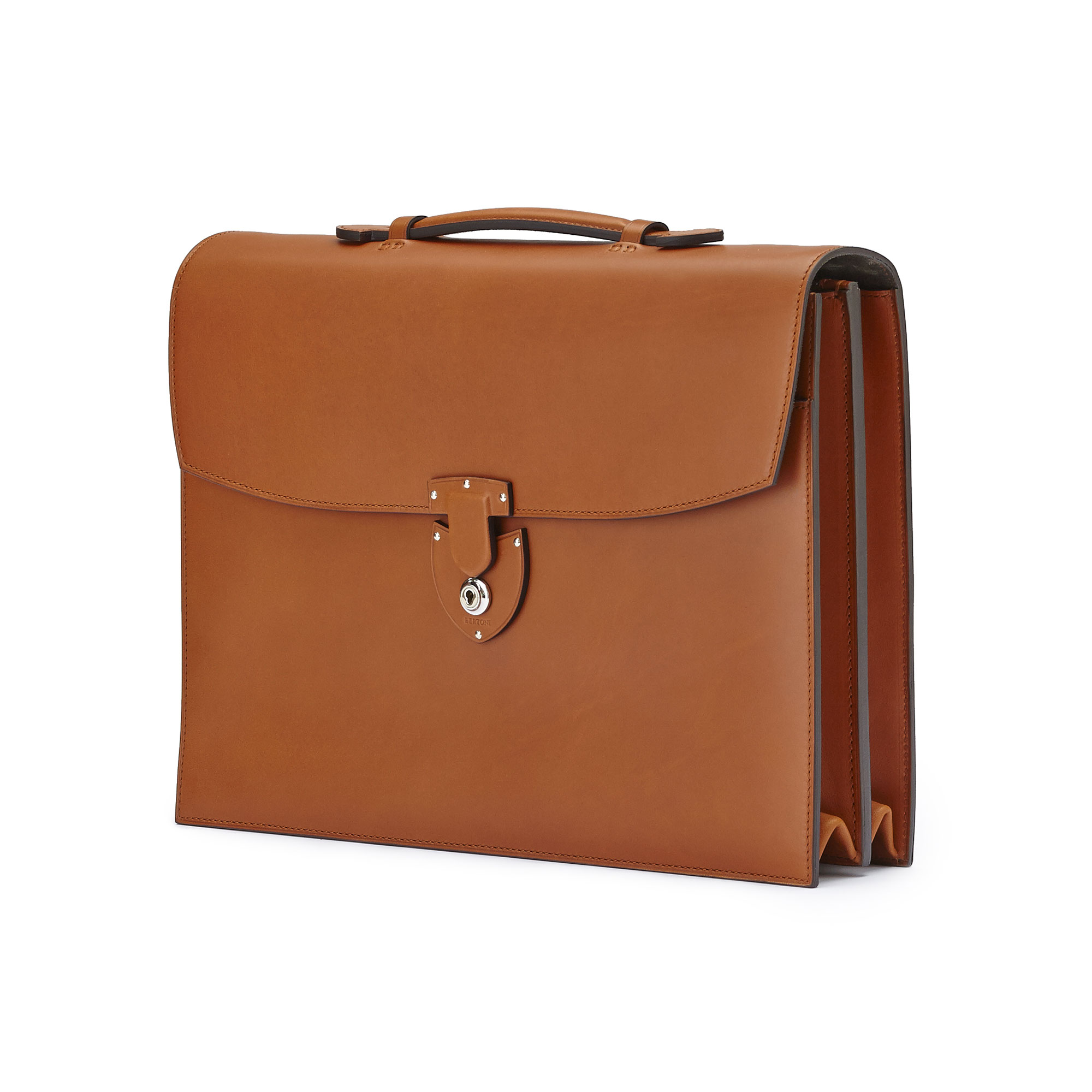 The terrabruciata french calf Double Gusset Briefcase by Bertoni 02