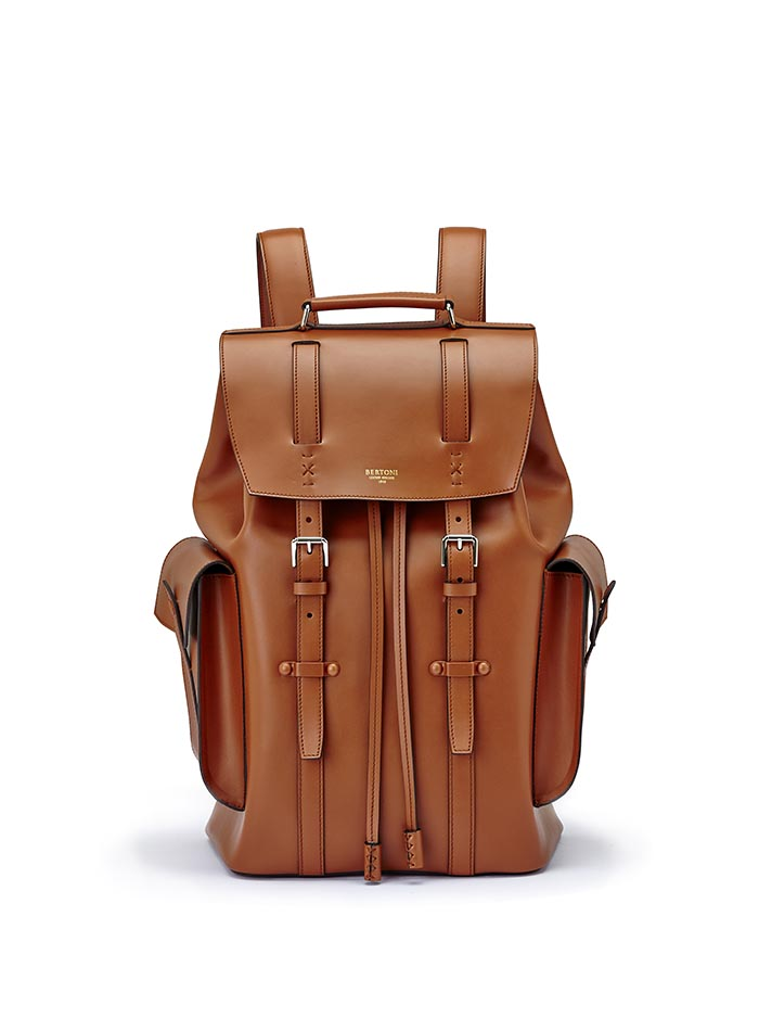 The terrabruciata french calf Traveller Backpack by Bertoni 1949