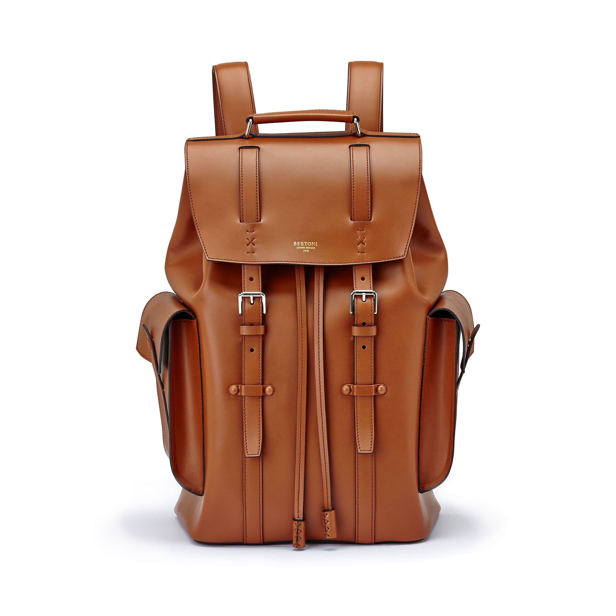 The terrabruciata french calf Traveller Backpack by Bertoni 1949 01