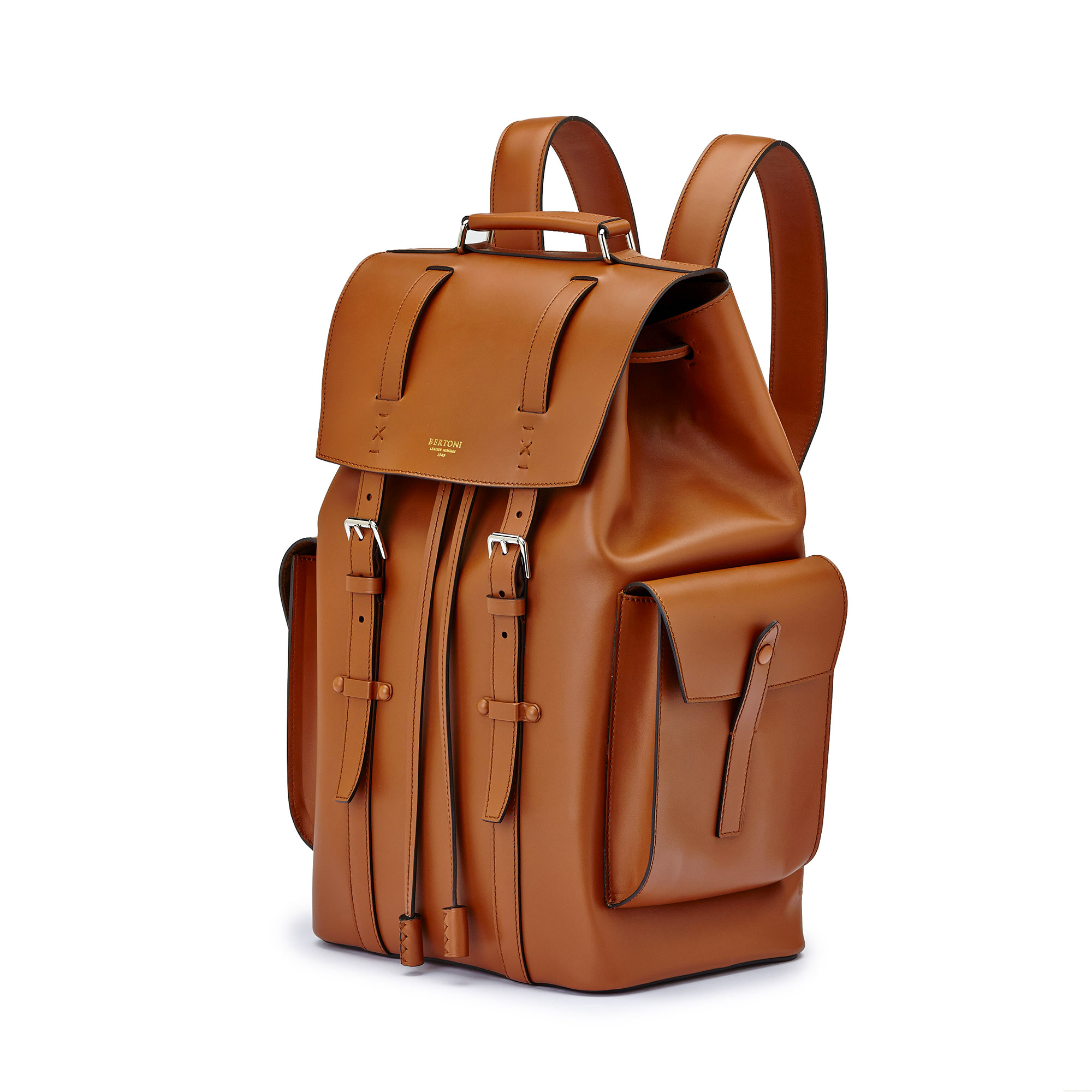 The terrabruciata french calf Traveller Backpack by Bertoni 1949 02
