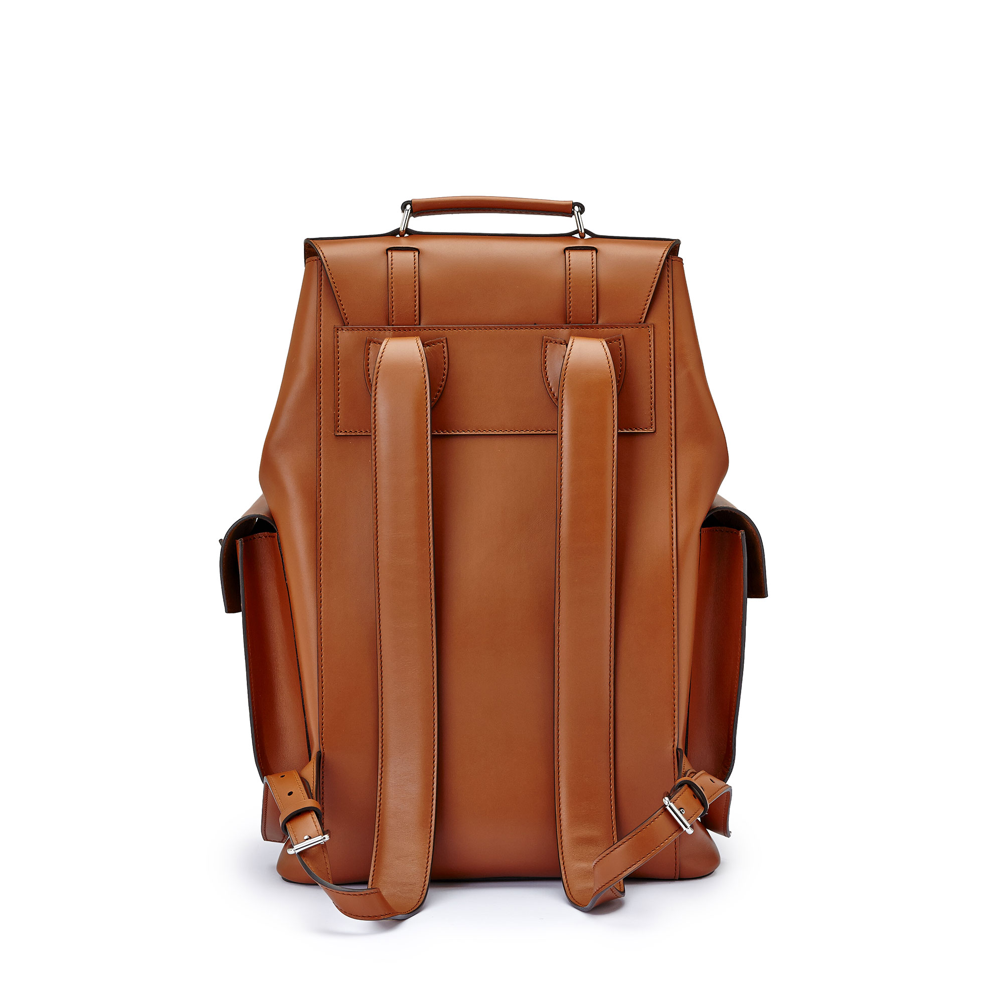 The terrabruciata french calf Traveller Backpack by Bertoni 1949 03