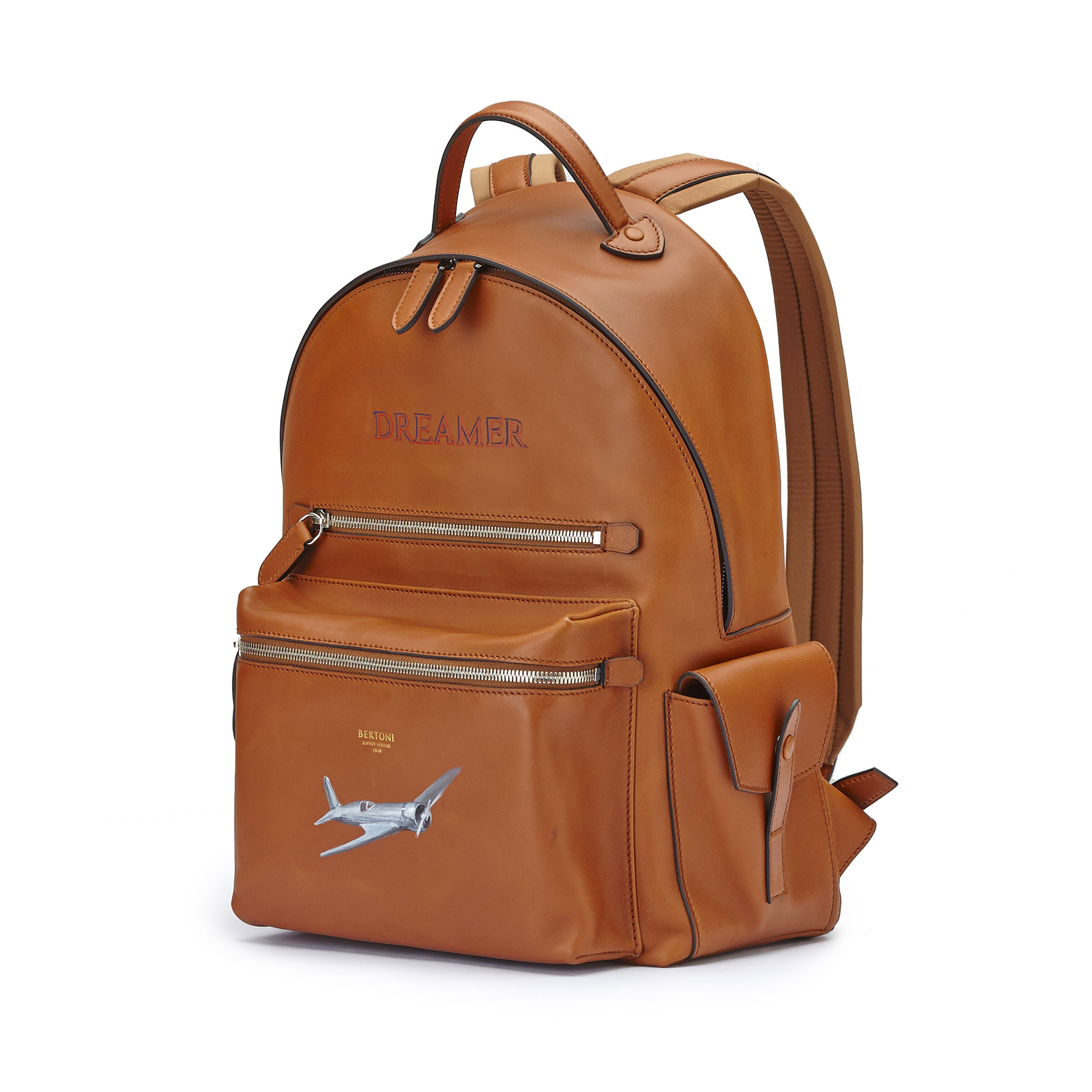 The terrabruciata french calf Zip Backpack by Bertoni 1949 03